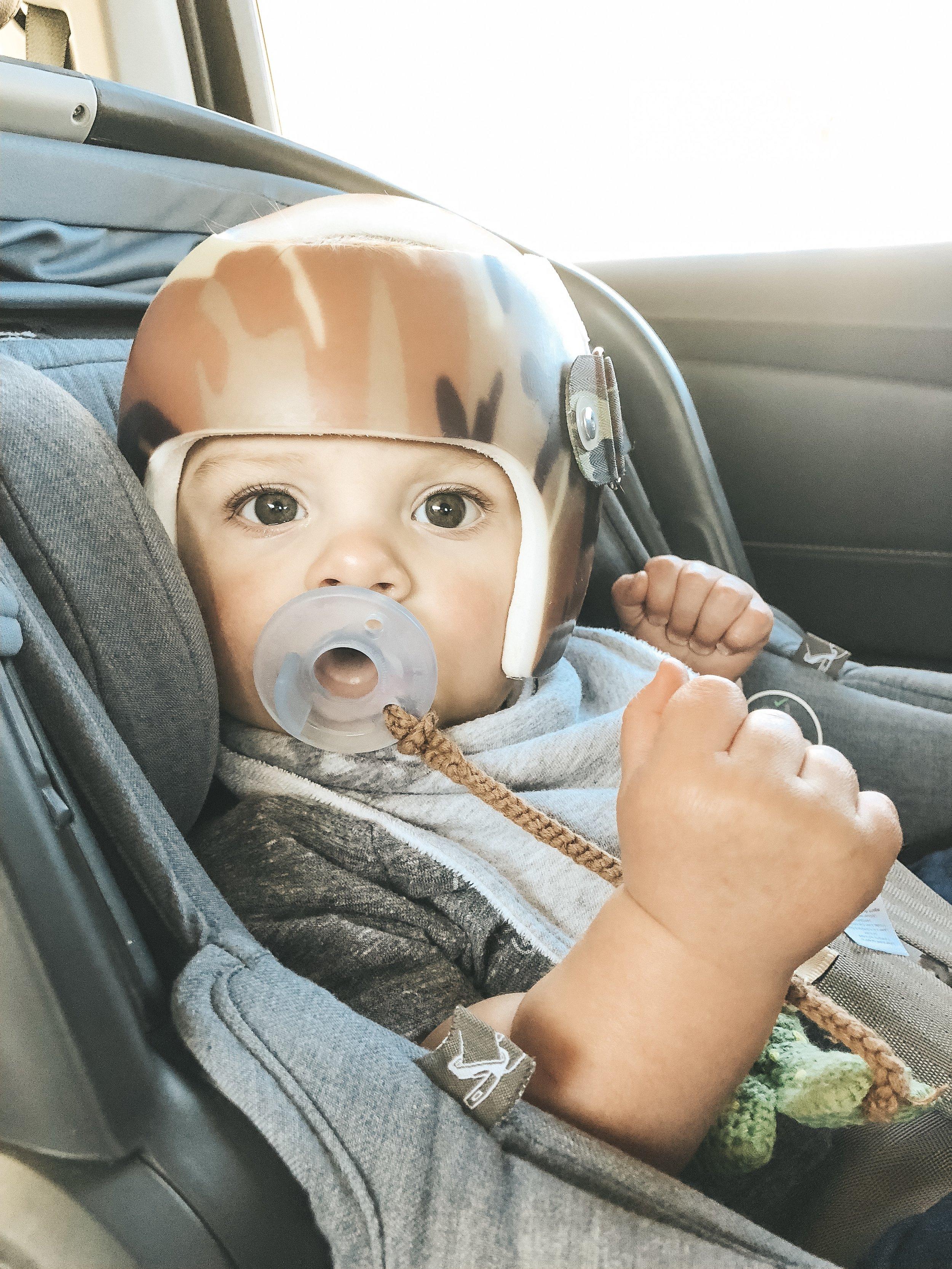 Jett Jones. 8 Months Old. Uppababy Mesa in Henry blue.