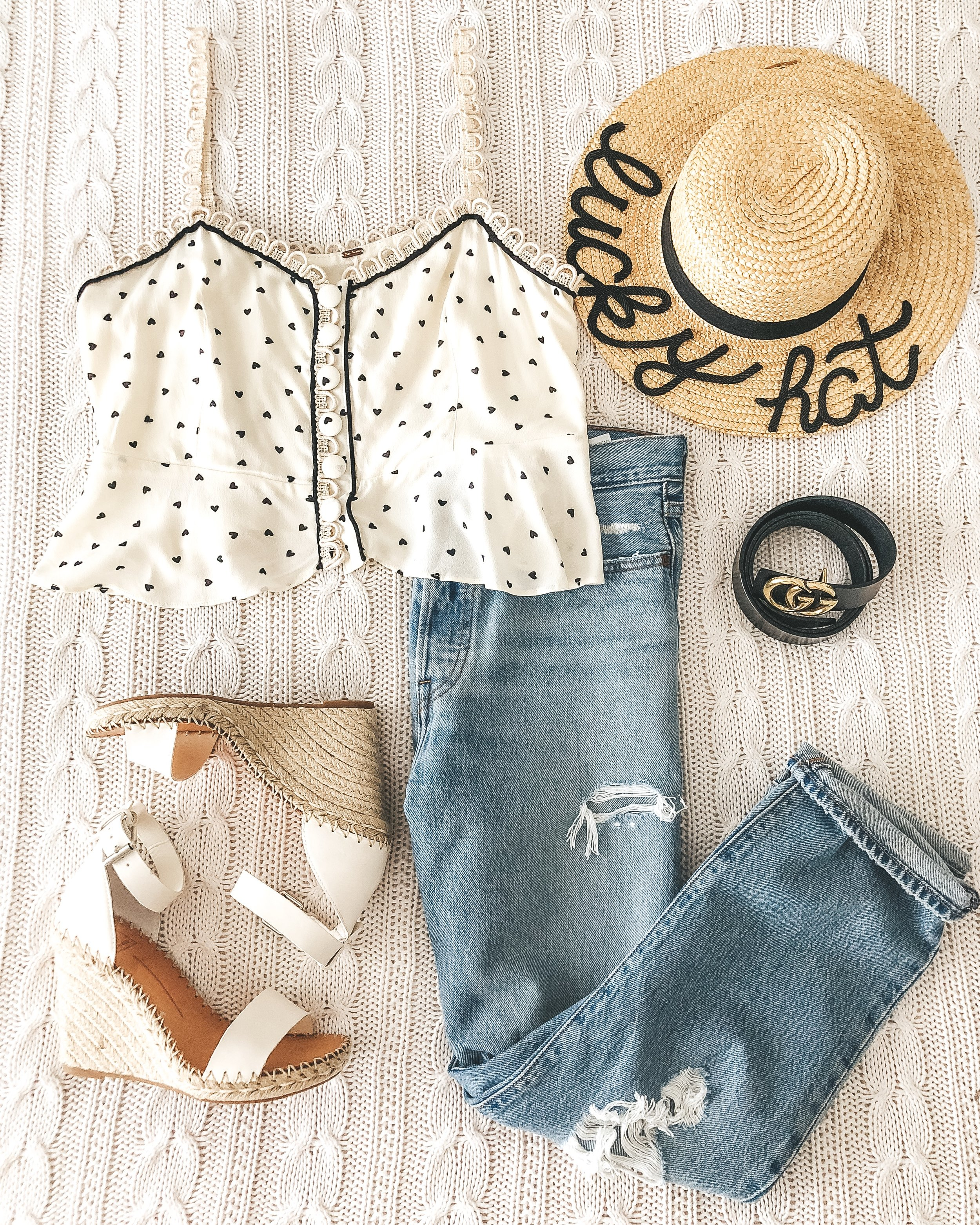 free people true to the heart tank, levi's wedgie straight, dolce vita noor wedge sandals, gucci belt, graphic boater hat.