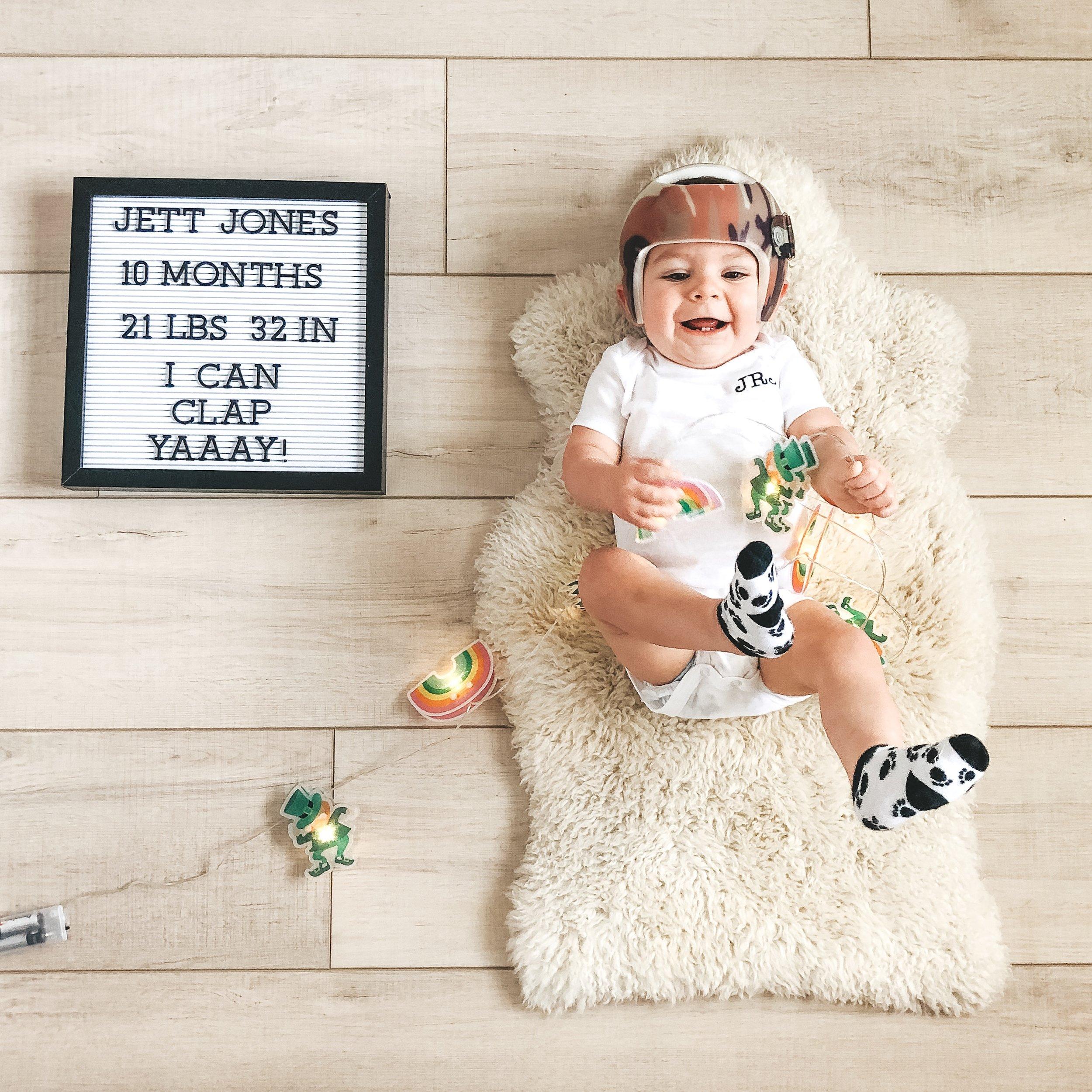 Jett Jones 10 months old.  Monthly photos in March.