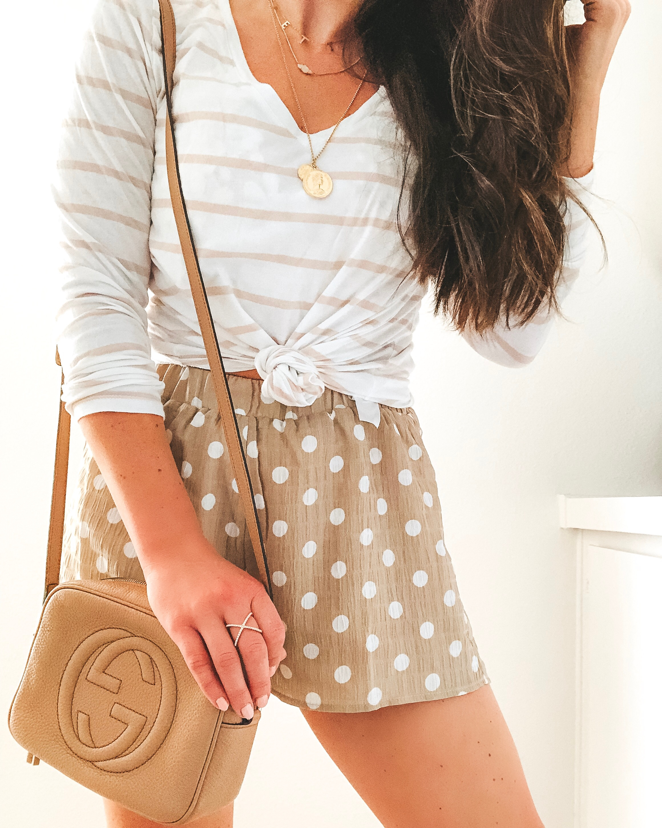 Superdown flutter shorts, Gucci soho disco bag, khaki and white stripe tee, and layered necklaces.  Cute neutral outfit for spring..jpg