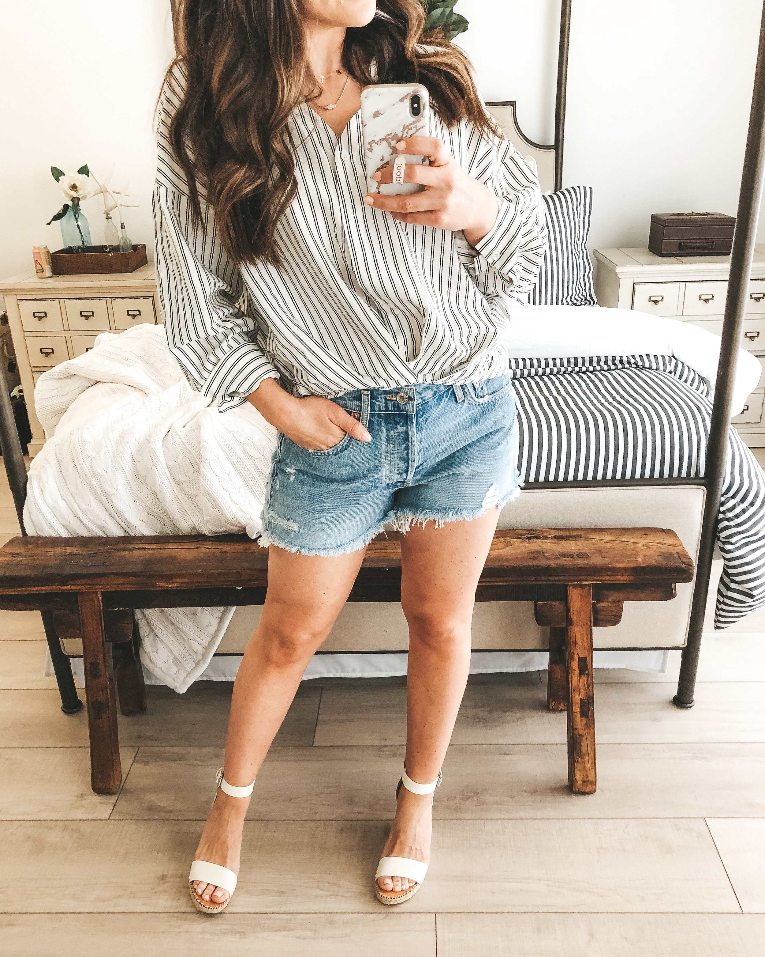 Affordable spring style from Amazon.  Amazon fashion finds.  Amazon prime fashion. Free People Adella Bralette.  Agolde parker jean shorts. Dolce Vita Noor wedge sandals.