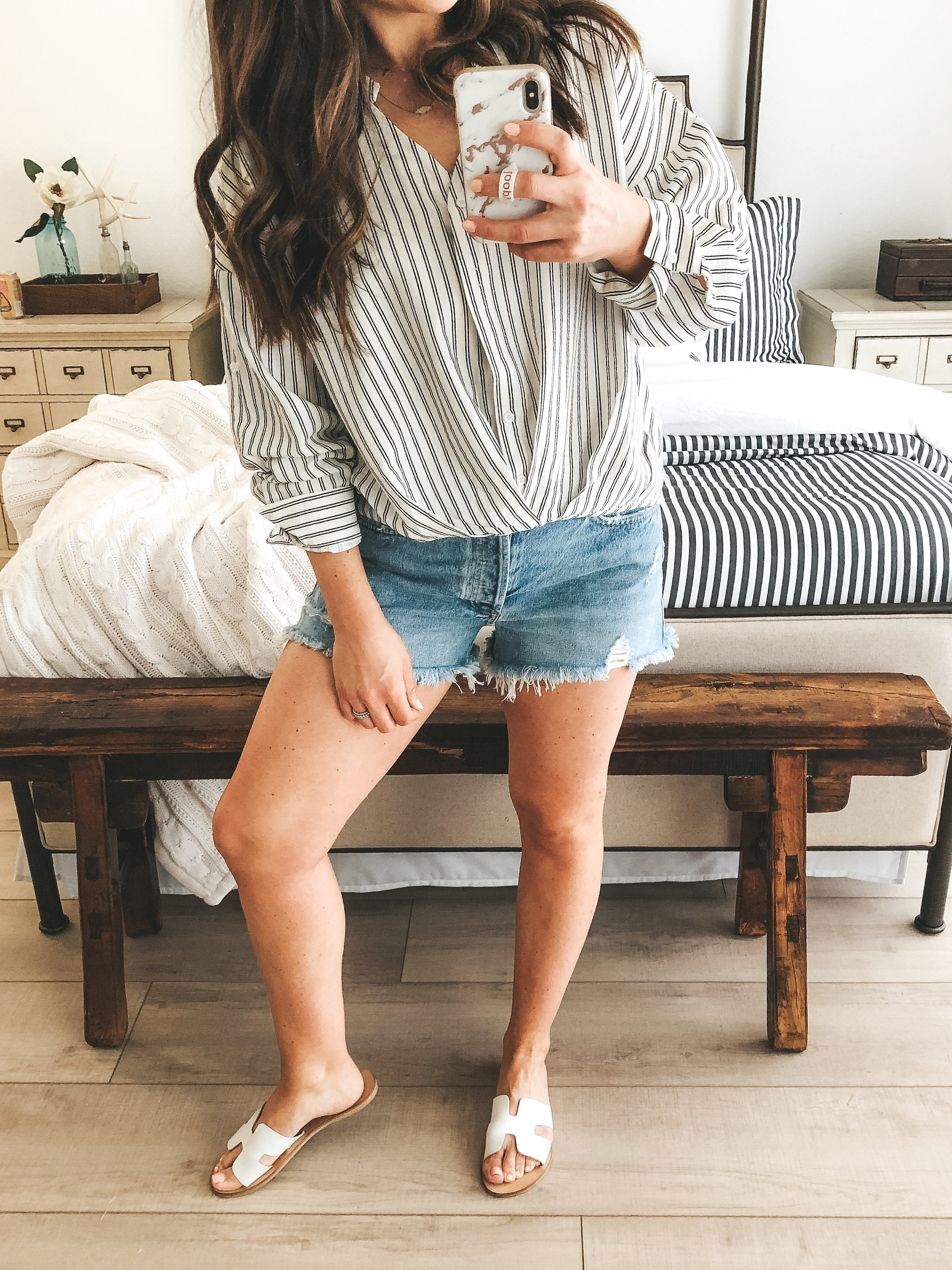 Affordable spring style from Amazon.  Amazon fashion finds.  Amazon prime fashion. Free People Adella Bralette.  Agolde parker jean shorts. Steve Madden Greece sandals.