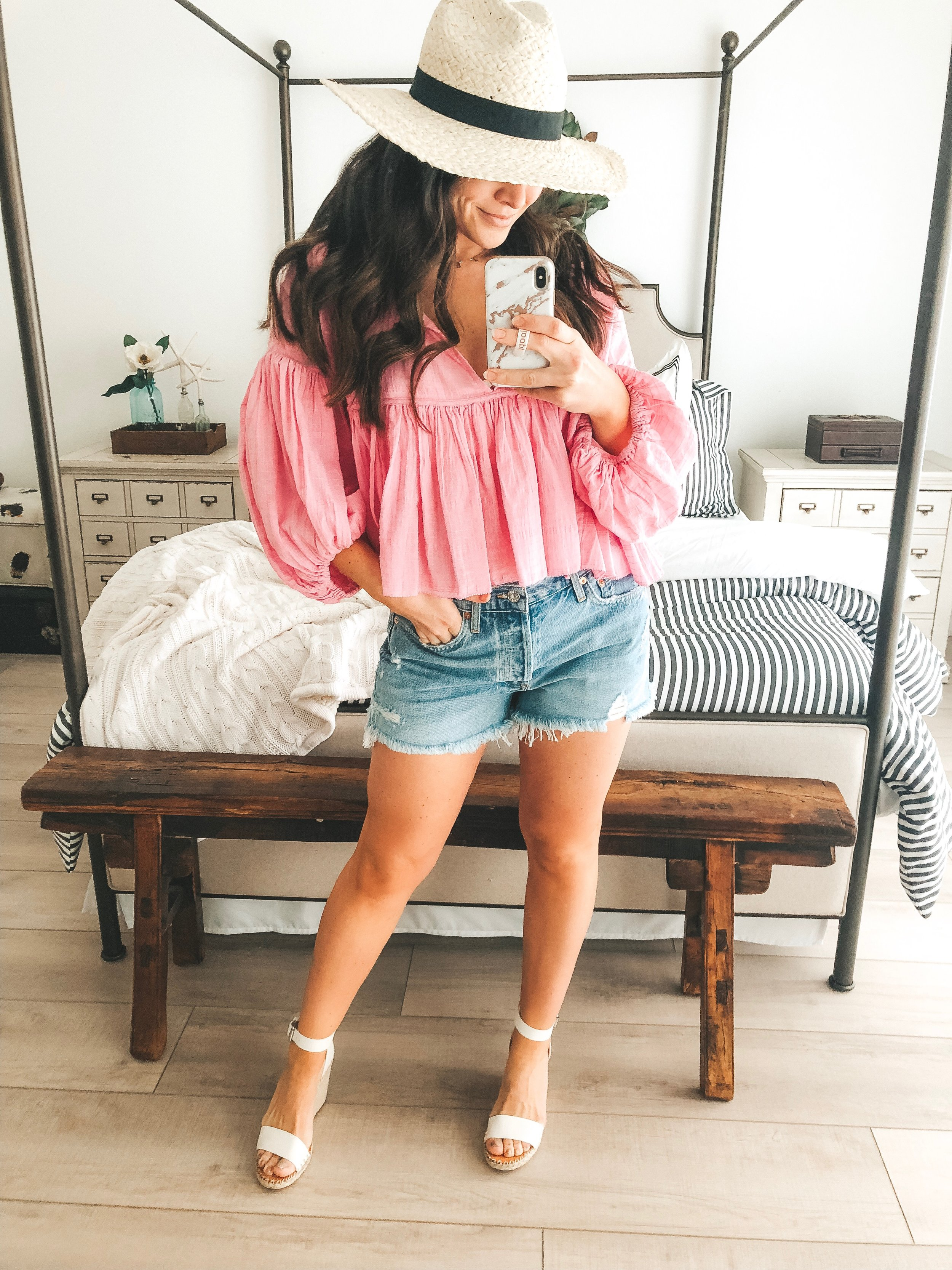 Free People Beaumont Mews Top, Free People Adella bralette, AGOLDE Parker jean shorts, and Dolce Vita Noor wedge sandals.