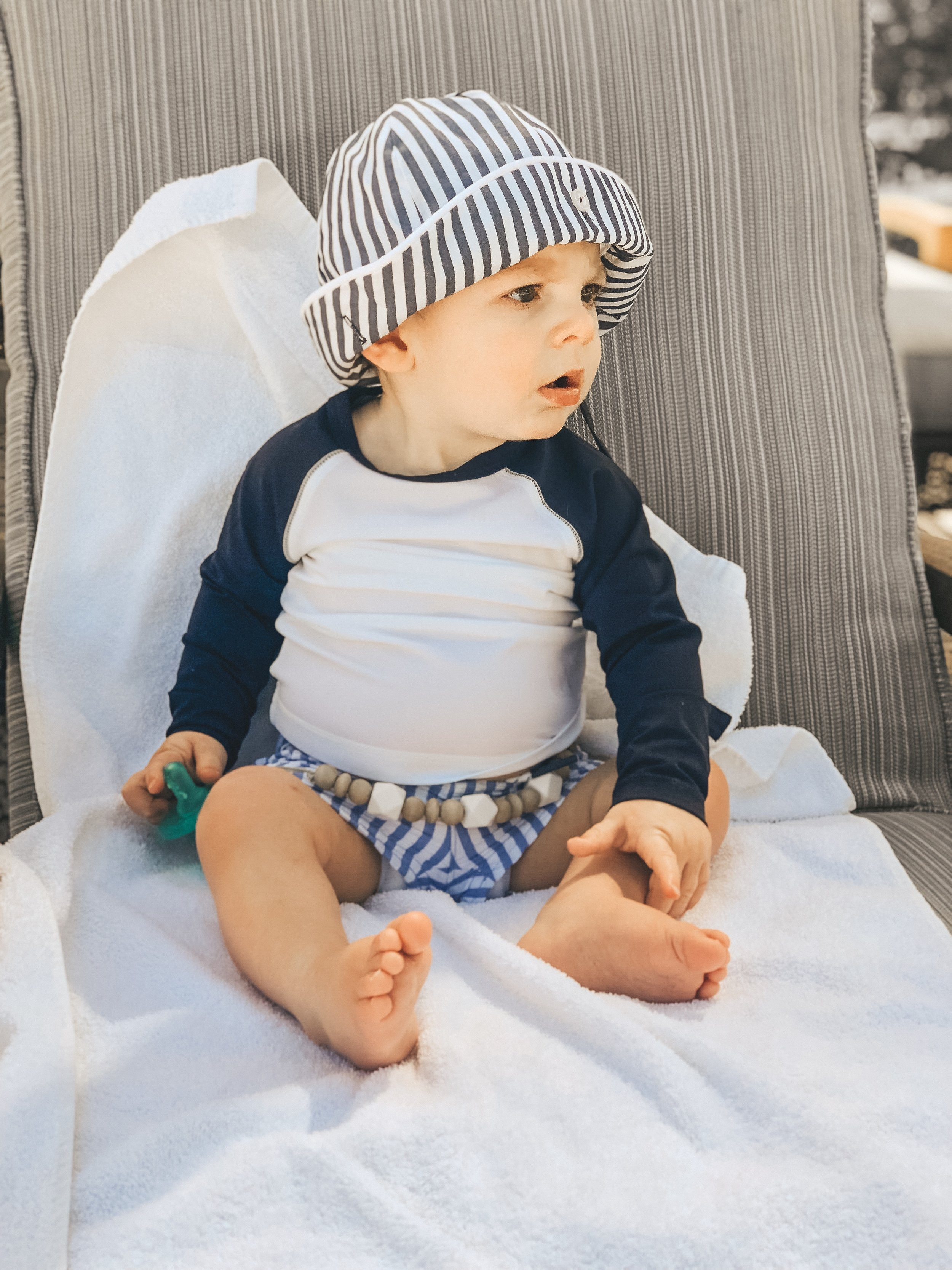 Jett Jones 11 Month Milestones.  UPF 50 Shirt for baby boy.  Baby boy summer style. The Beaufort Bonnet Company Hat.