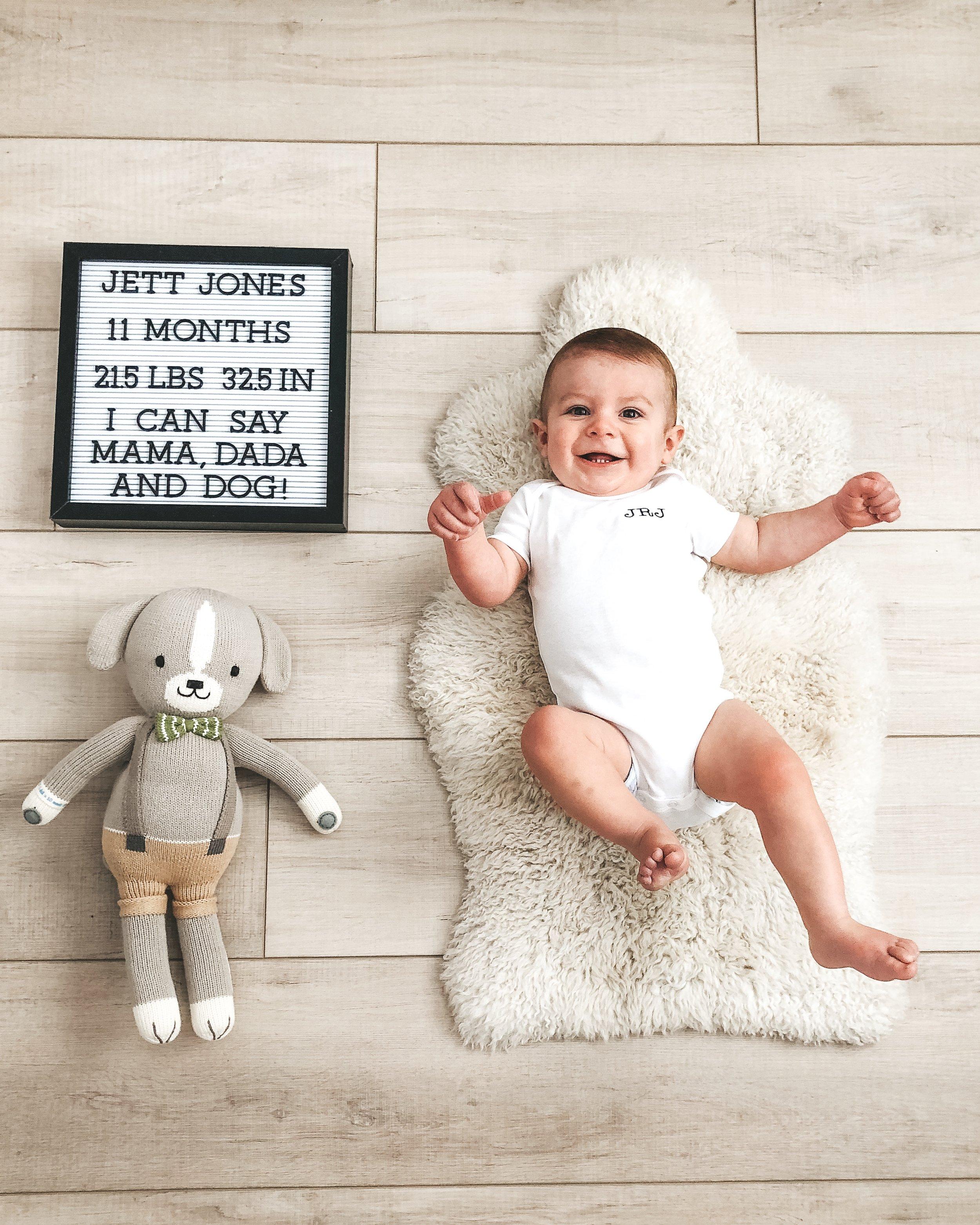Jett Jones 11 month update.  Monthly photos of baby.