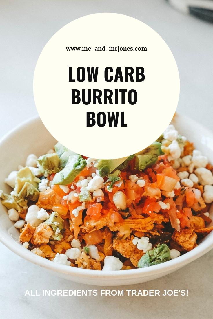 Low carb burrito bowl recipe.  Cauliflower rice burrito bowl.