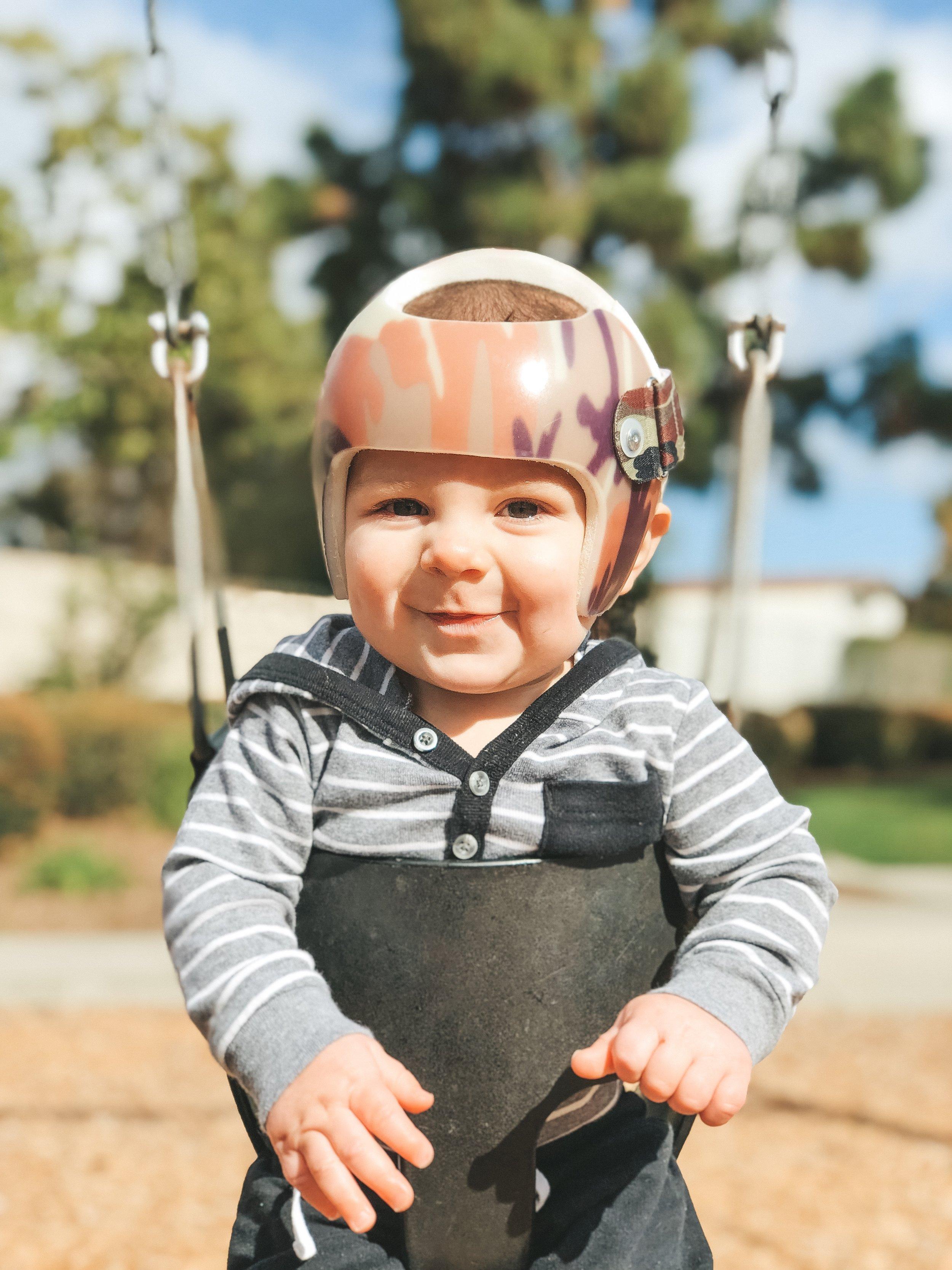 Jett Jones 10 month update.  Camoflauge STARband helmet from Hangar clinic.  Helmet treatment for Plagiocephaly.