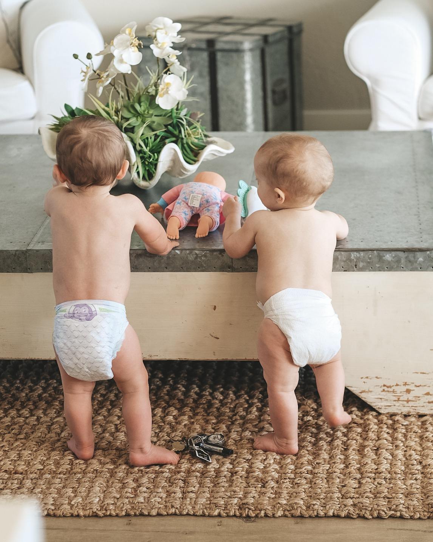 Jett Jones 12 Month Update.  Baby boys in diapers.  Cousin love.