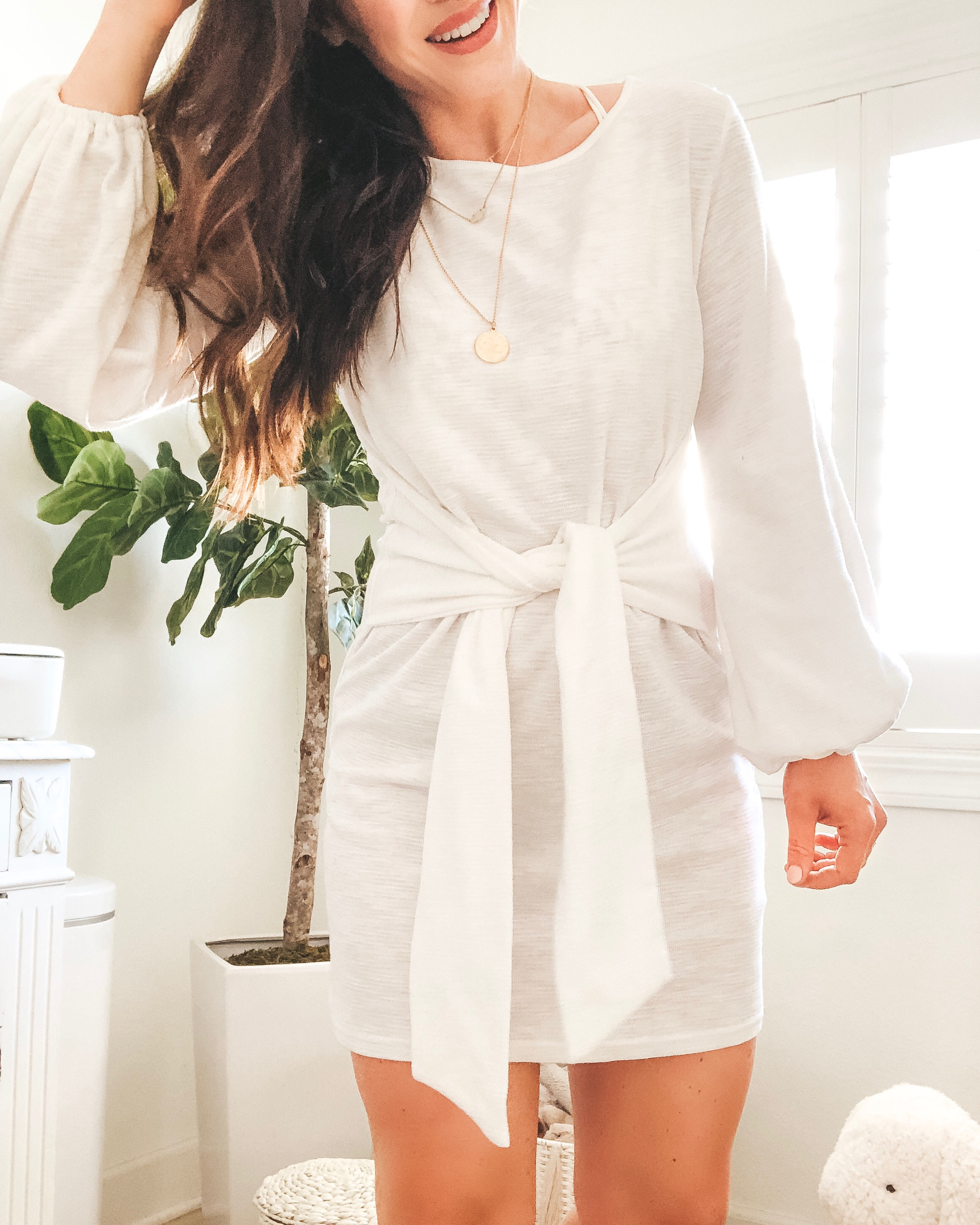 Amazon fashion finds for summer.  10 under $35 amazon women's clothing pieces.  Cute tie waist dress.  White dress with flattering waist.
