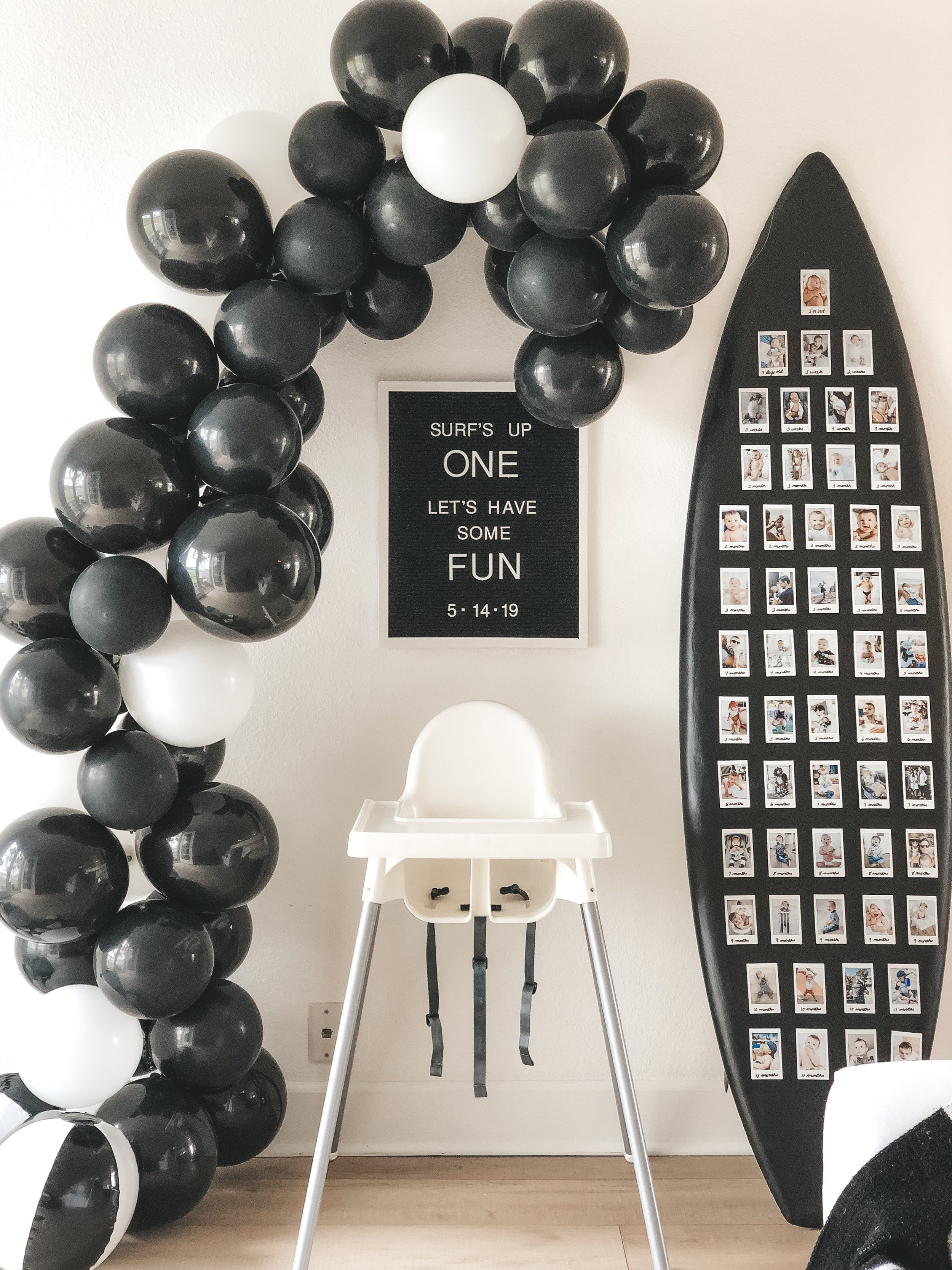 DIY BALLOON ARCH TUTORIAL TIPS TRICKS. How to make a balloon arch at home.  Inexpensive balloon arch party decor. Surf theme first birthday party. Black and white birthday party ideas.