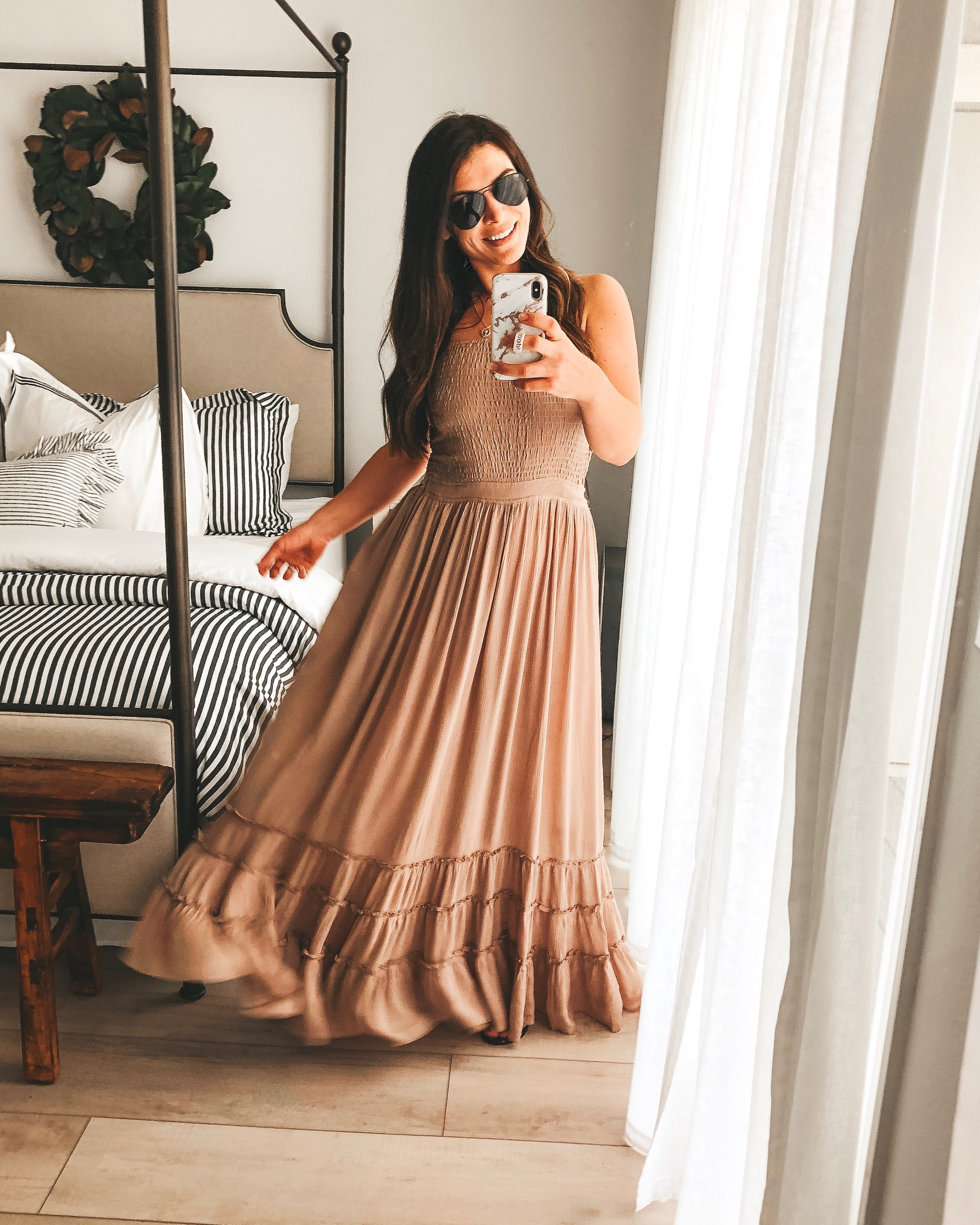 Amazon fashion finds for summer.  10 under $35 amazon women's clothing pieces.  Mauve Free People inspired maxi dress with backless detail.