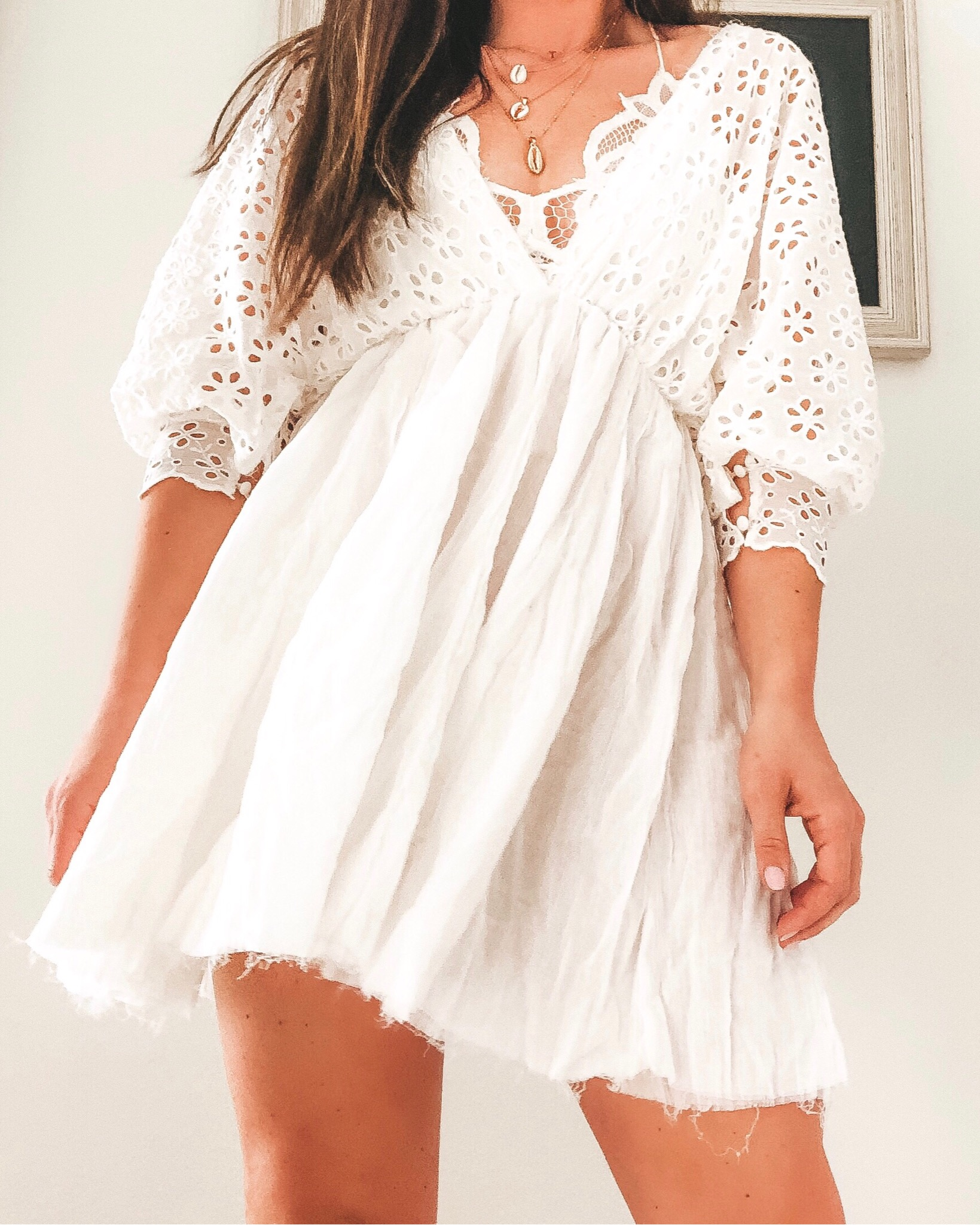 Amazon fashion finds for summer.  10 under $35 amazon women's clothing pieces.  White Free people inspired dress or beach coverup.
