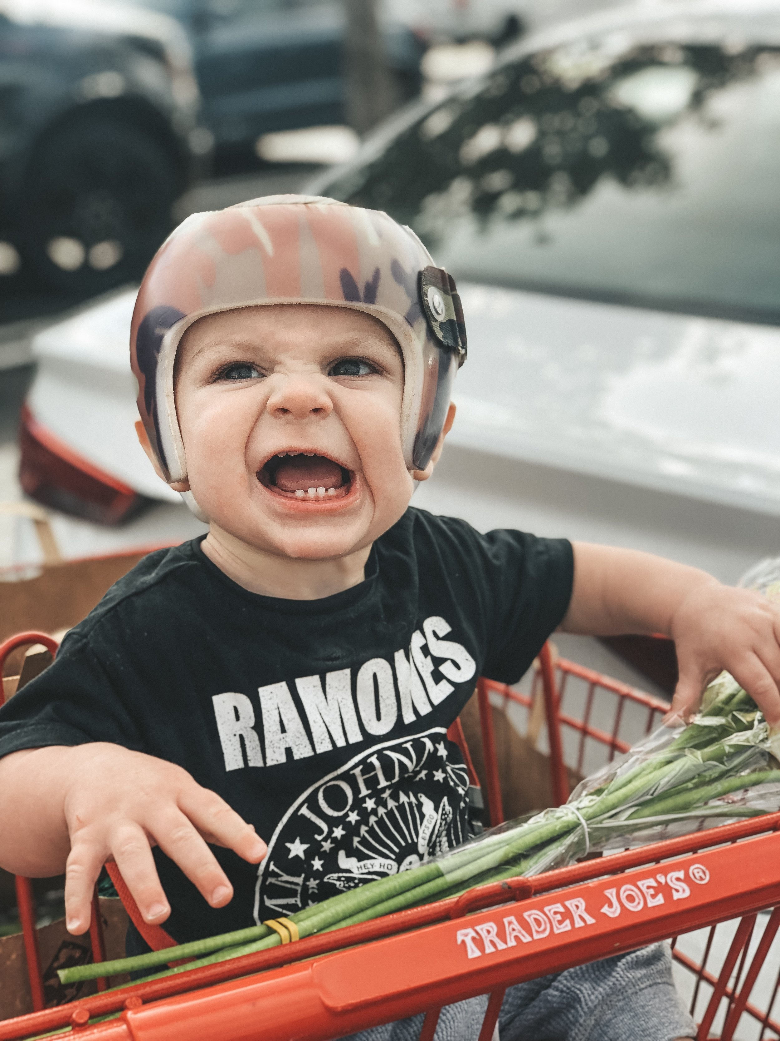 Jett Jones 12 Month Update.  Camoflauge Starband helmet to fix flat head syndrome.