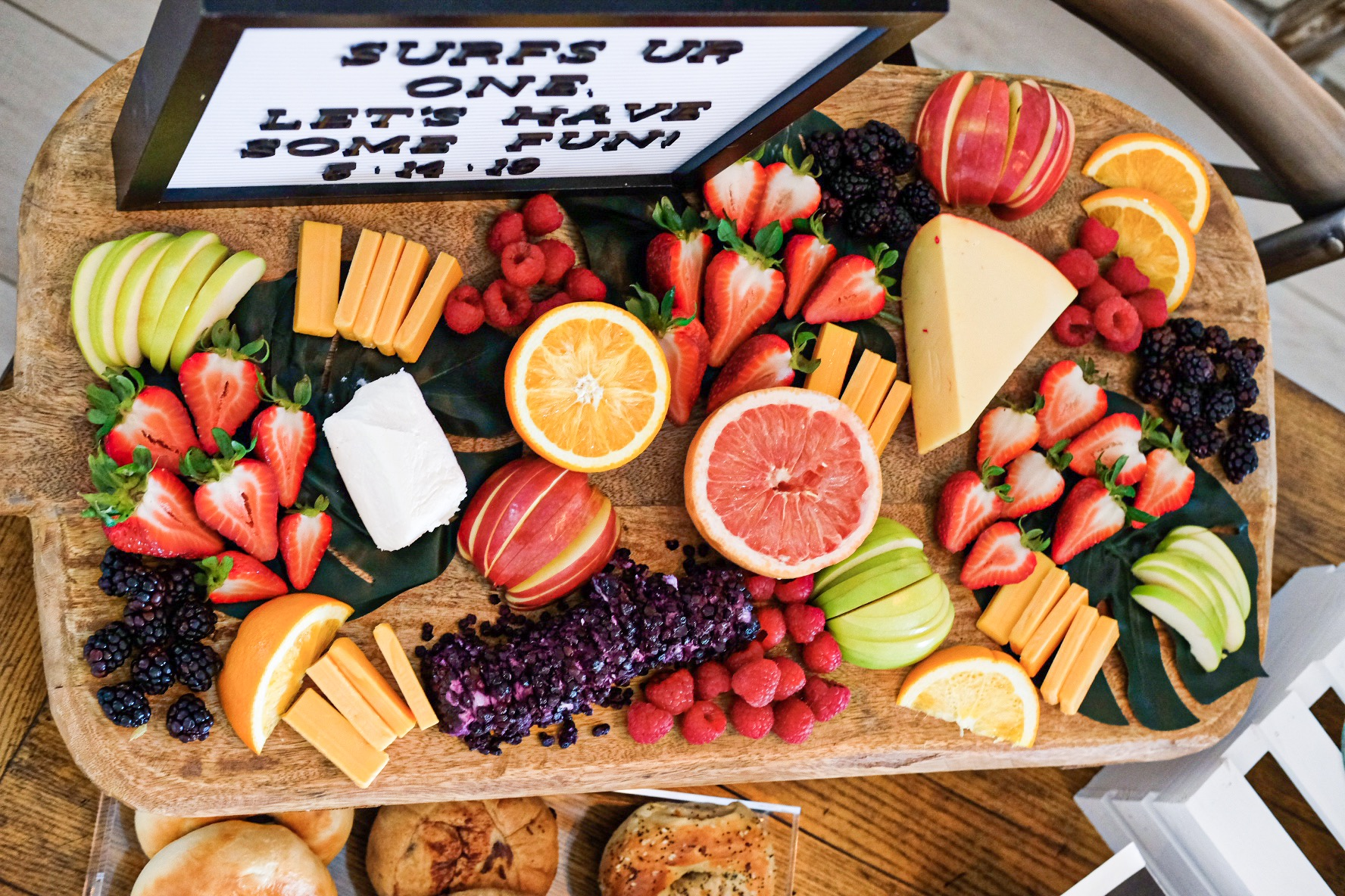 Brunch cheese board.  Pretty fruit and cheese plate. Shopping list for fruit and cheese board from Trader Joe's.
