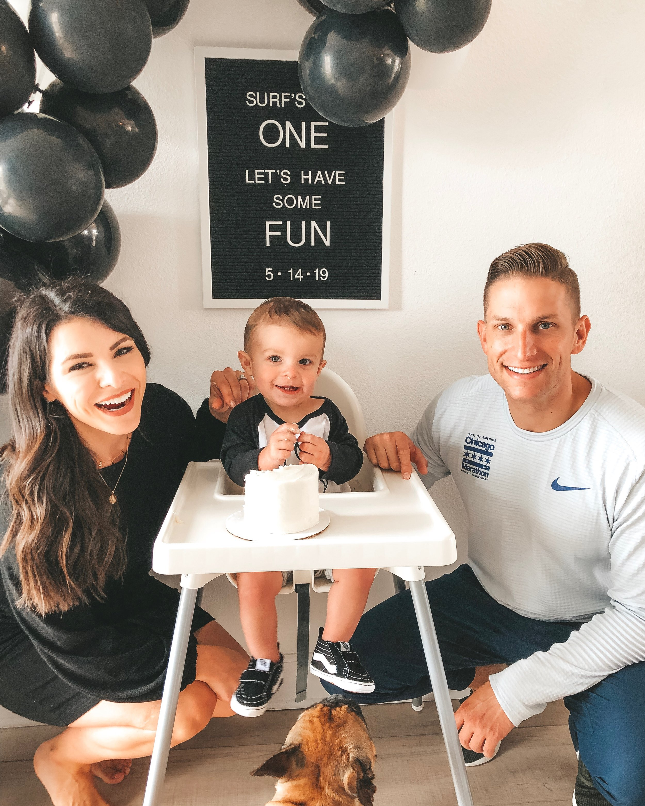 Modern surfer theme birthday party.  Black and white birthday party.  Baby boy first birthday party.