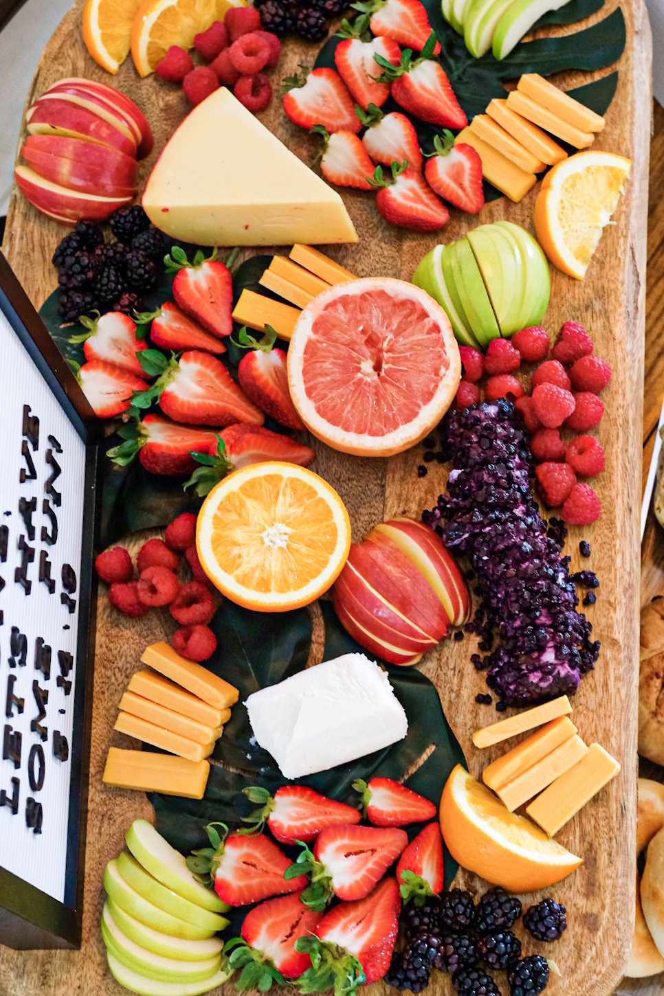 Brunch cheese board.  Fruit and cheese plate for a brunch birthday party.  Trader Joe's brunch cheese board.  Food for a brunch baby shower or baby birthday party.