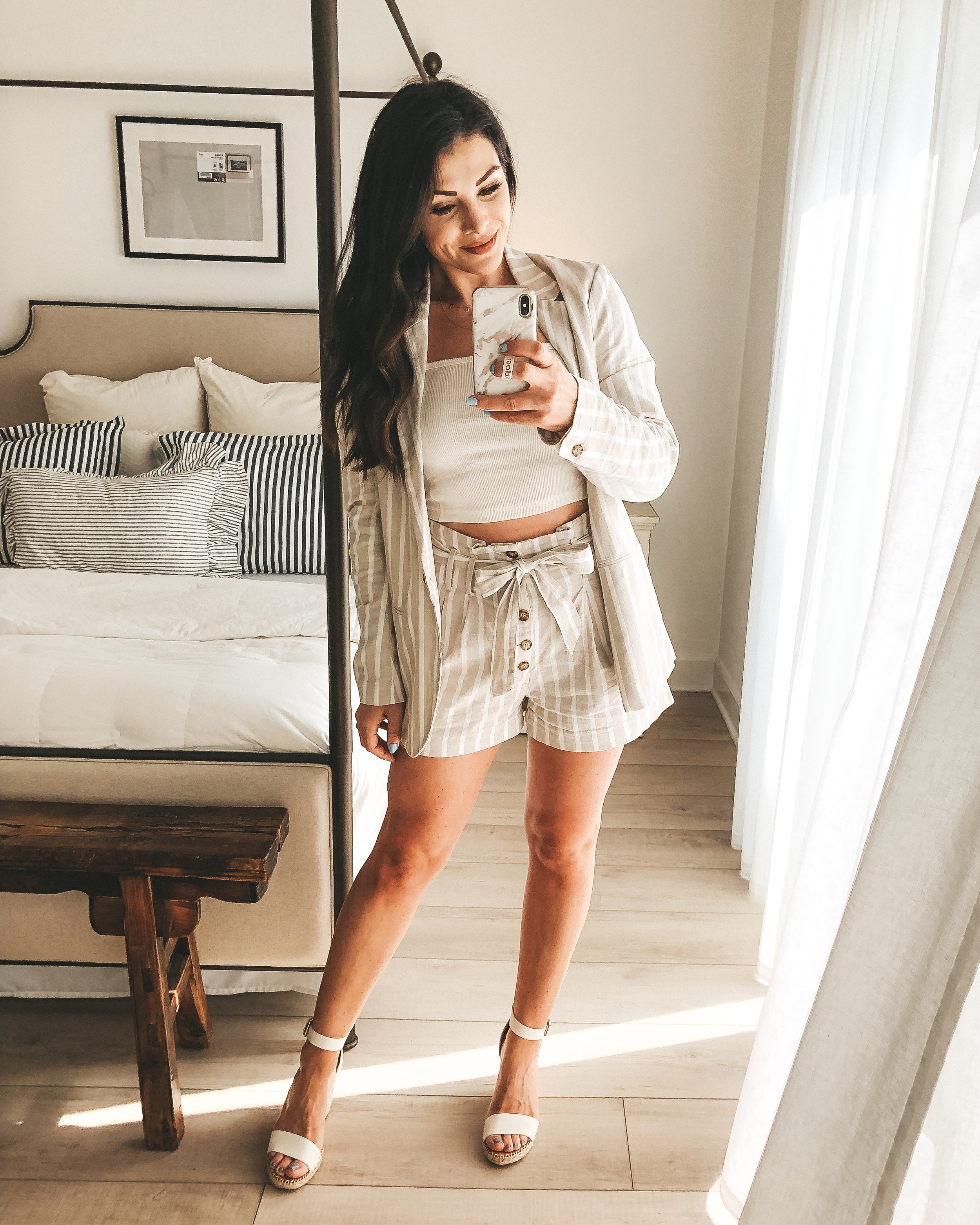 Cute summer outfit.  Abercrombie paper bag waist linen shorts, A&F linen blazer, Abercrombie ribbed crop cami, and Dolce Vita Noor wedge sandals.