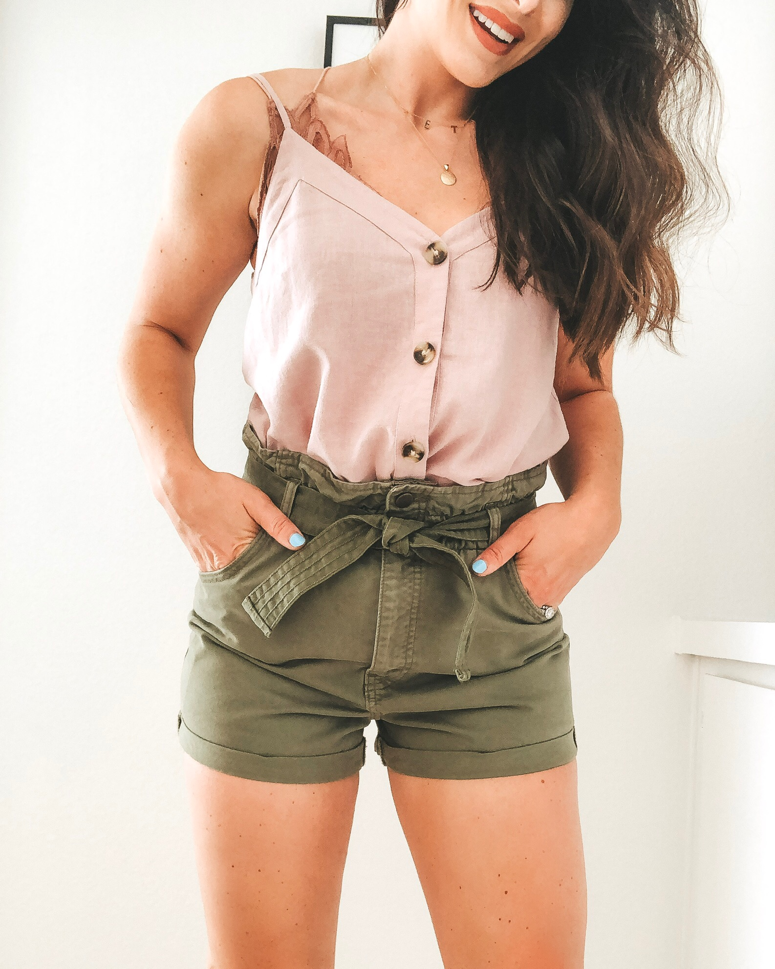 Abercrombie belted twill shorts, button-front linen blend cami, and Dolce Vita Noor wedge sandals.