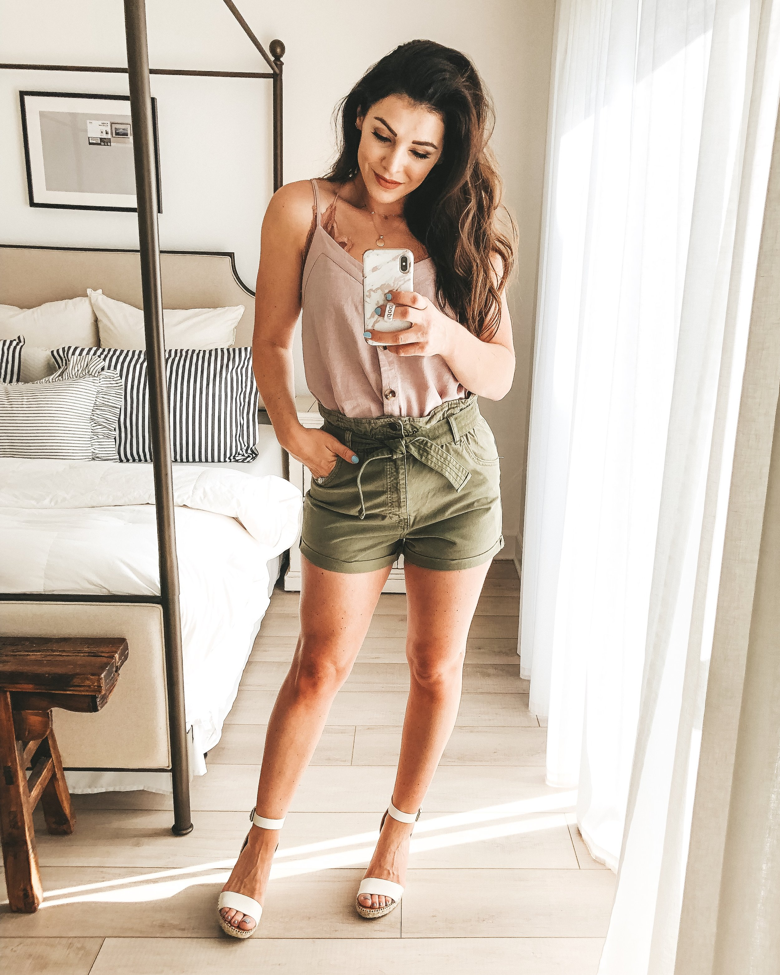 Abercrombie belted twill shorts, button-front linen blend cami, Free People adella bralette, and Dolce Vita Noor wedge sandals.