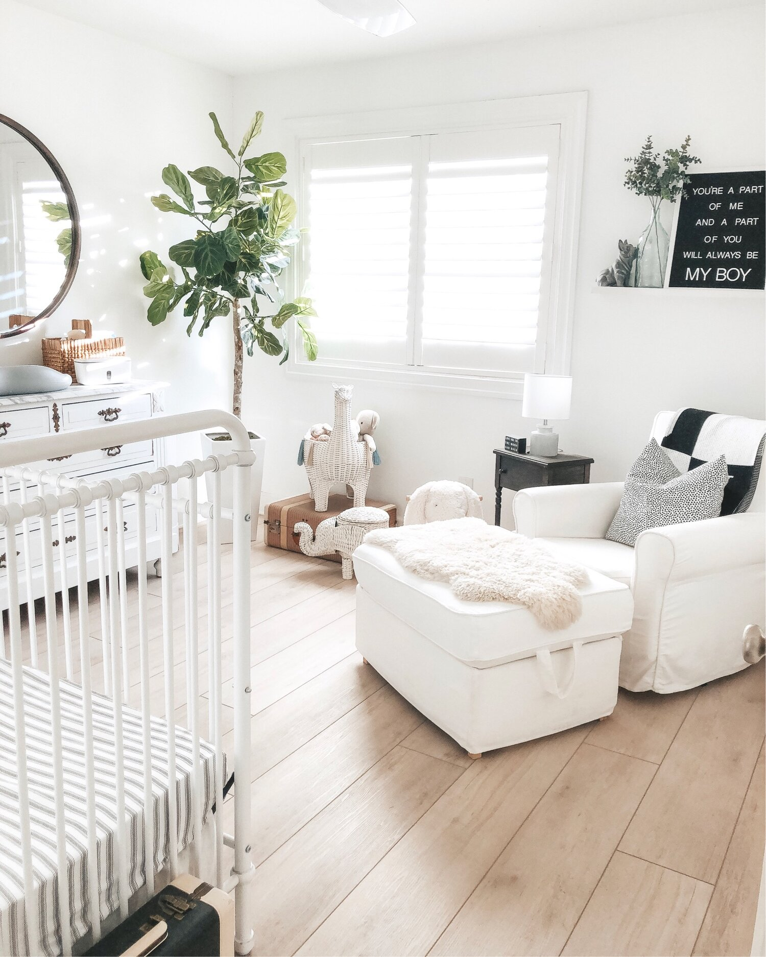 Pros and Cons of Luxury Vinyl Plank flooring LVP.  Coretec flooring. Neutral nursery.  Neutral boy room.  Black and white nursery.
