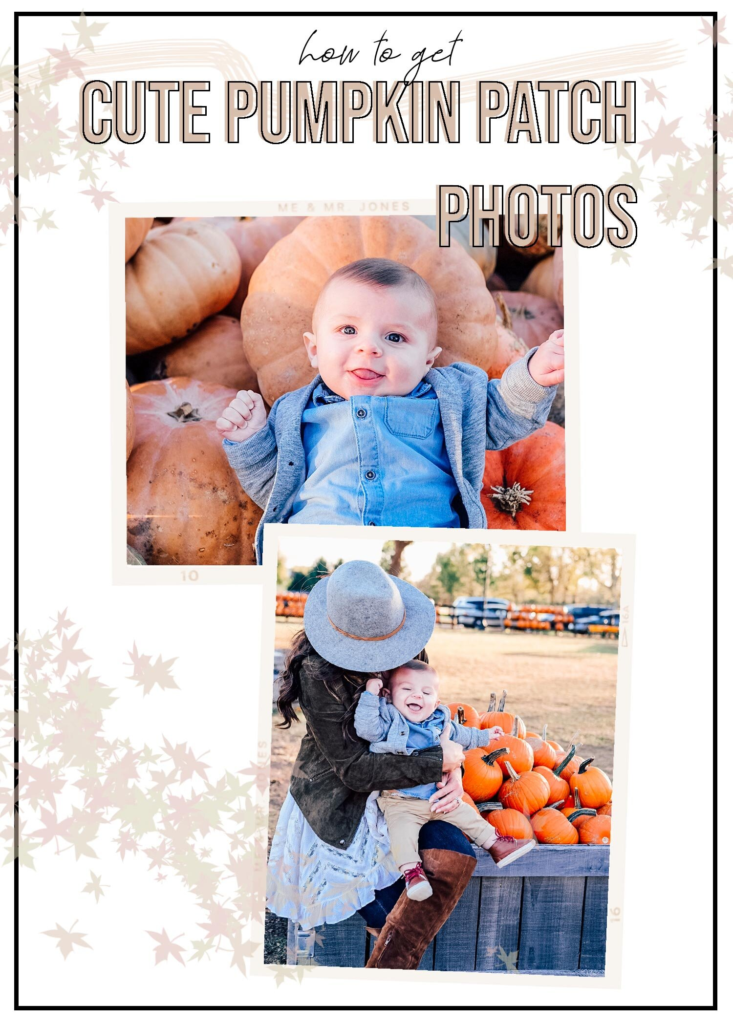 How to get cute photos at the pumpkin patch with newborns and toddlers.