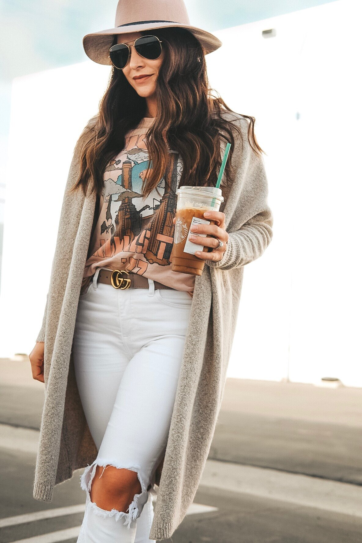 Neutral fall outfit ideas.  Pink Floyd tee, white skinny jeans, Seychelles Occasion Snakeskin booties, Blush hat, and Old Navy super long cardigan.