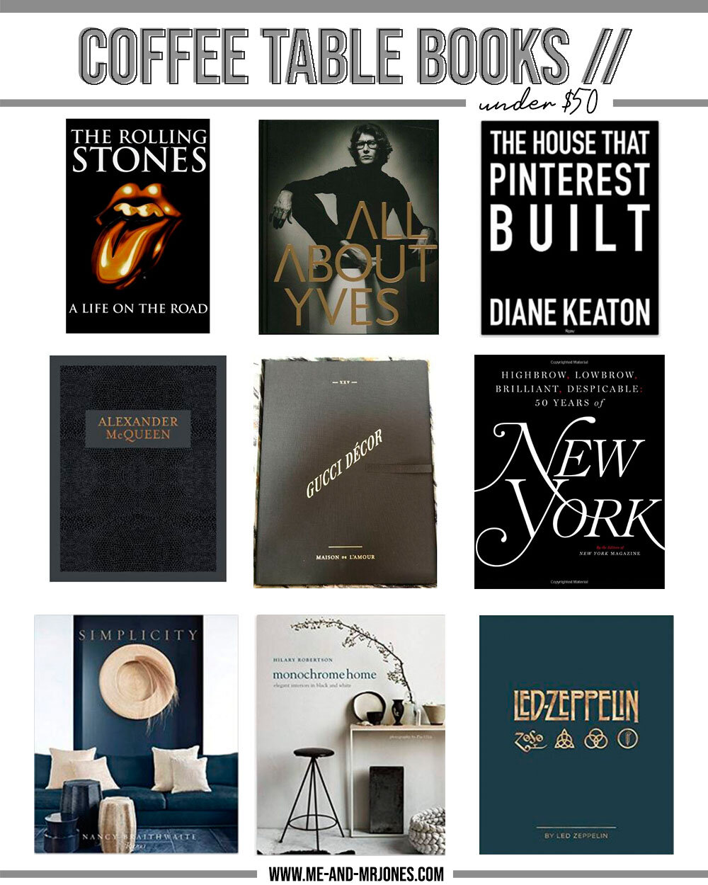 Picture of: Coffee Table Books Under 50 Me And Mr Jones