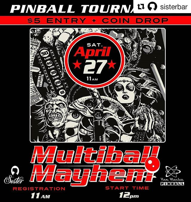 #Repost @sisterbar (@get_repost) ・・・ Join us this Saturday for Multiball Madness! This is a great way to kick off your weekend, learn more about the game, and meet other pinball enthusiasts. Registration starts at 11am. The tournament starts at noon sharp. We'll be giving away cash prizes, Sister & @geekonabq swag and you could go home with an awesome trophy! Follow @newmexicopinball for more info on all upcoming tournaments. 😺