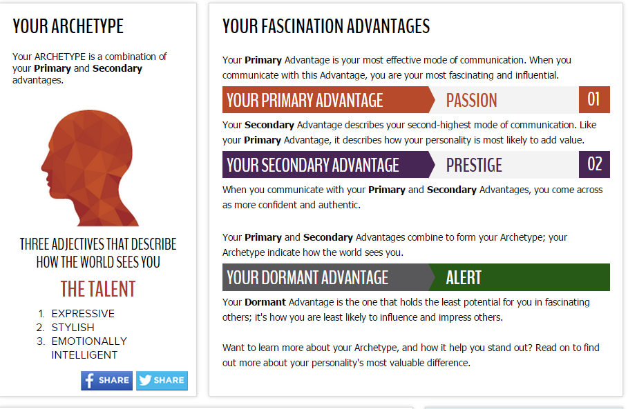 My results from the 'How To Fascinate' talent profile.