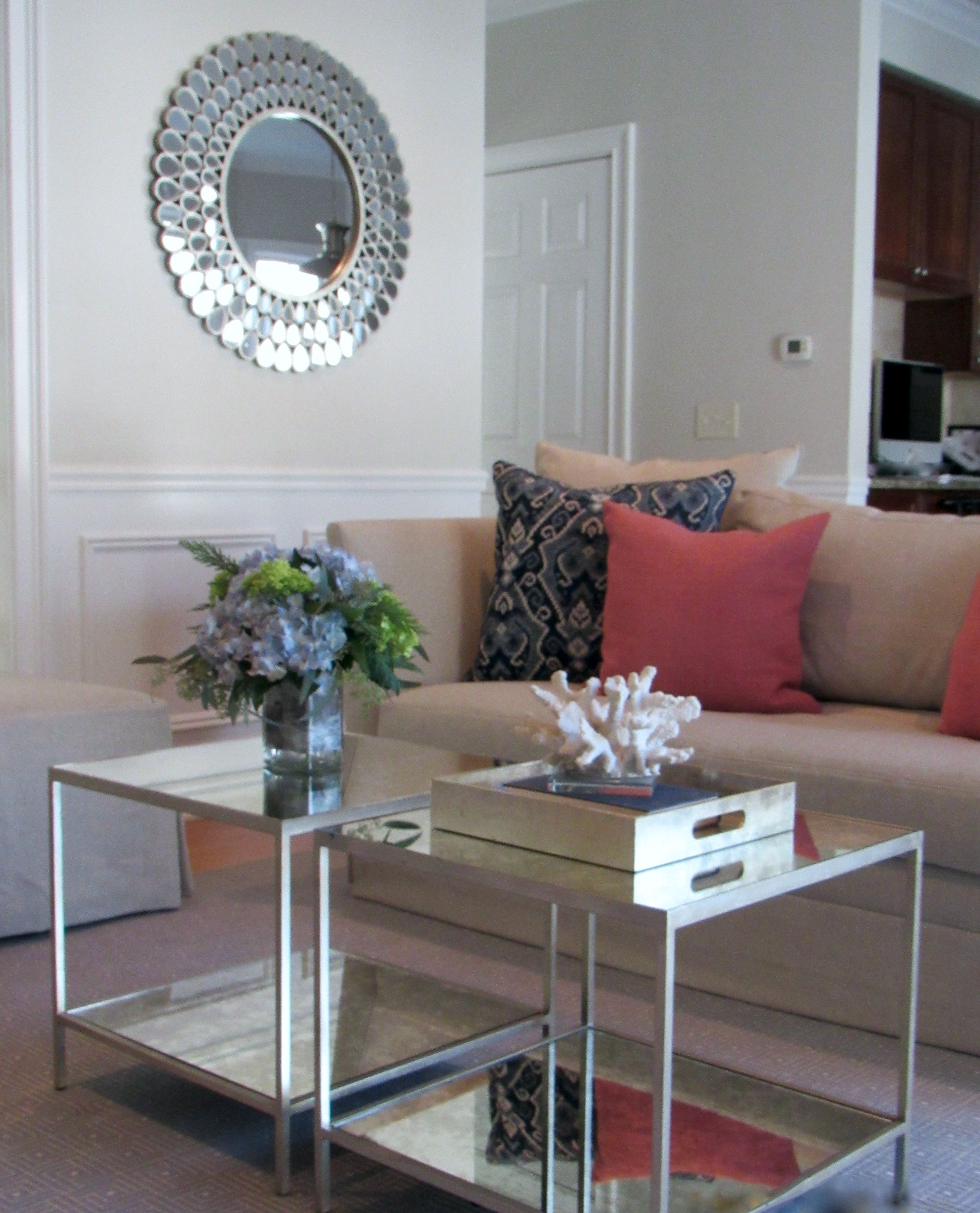Fairfield Transitional glass coffee table