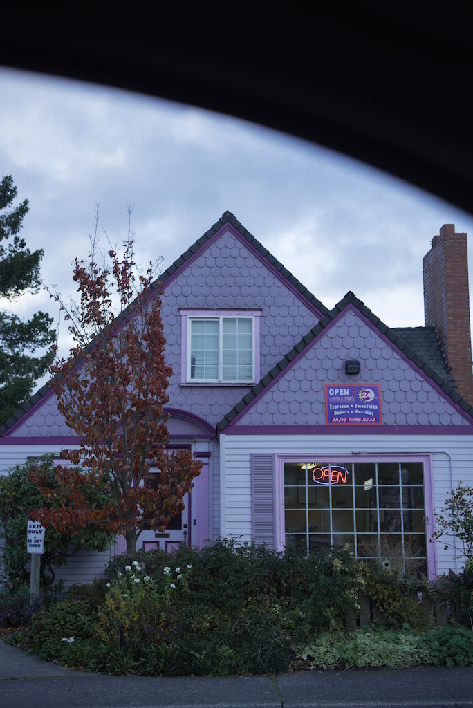 The cutest purple donut house.