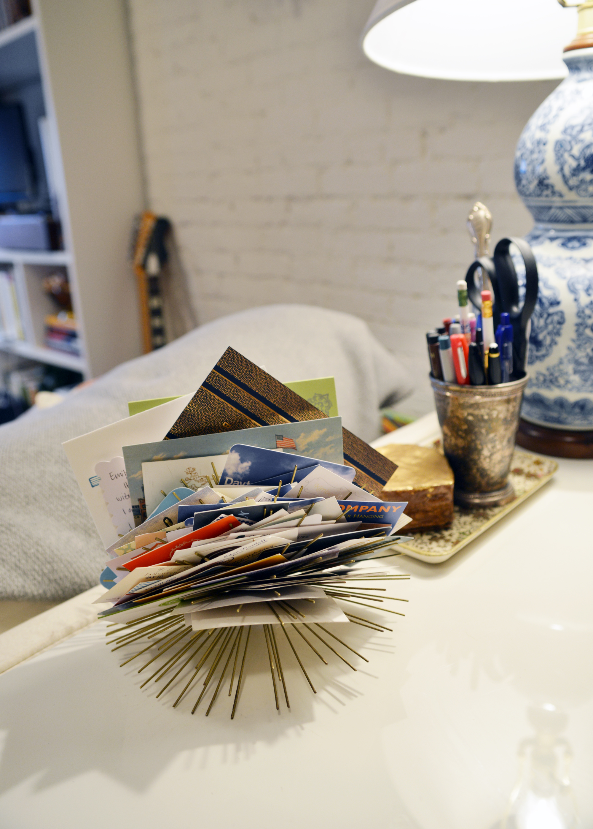 Sea Urchin or Wallflower Business Card Holder as Seen in Emily's Apartment| Photography By Lauren L Caron | Fourth Floor Walk Up © 2015