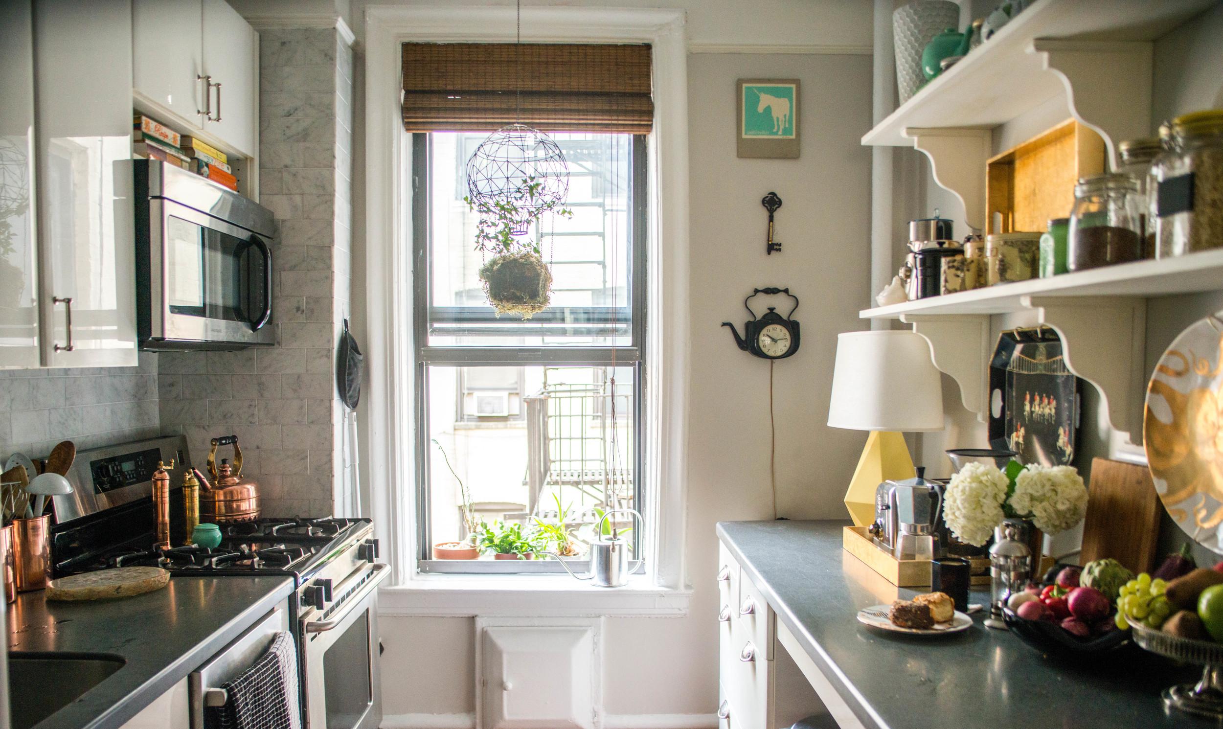 Brooklyn Galley Kitchen | By: Lauren Caron © Fourth Floor Walk Up 2015