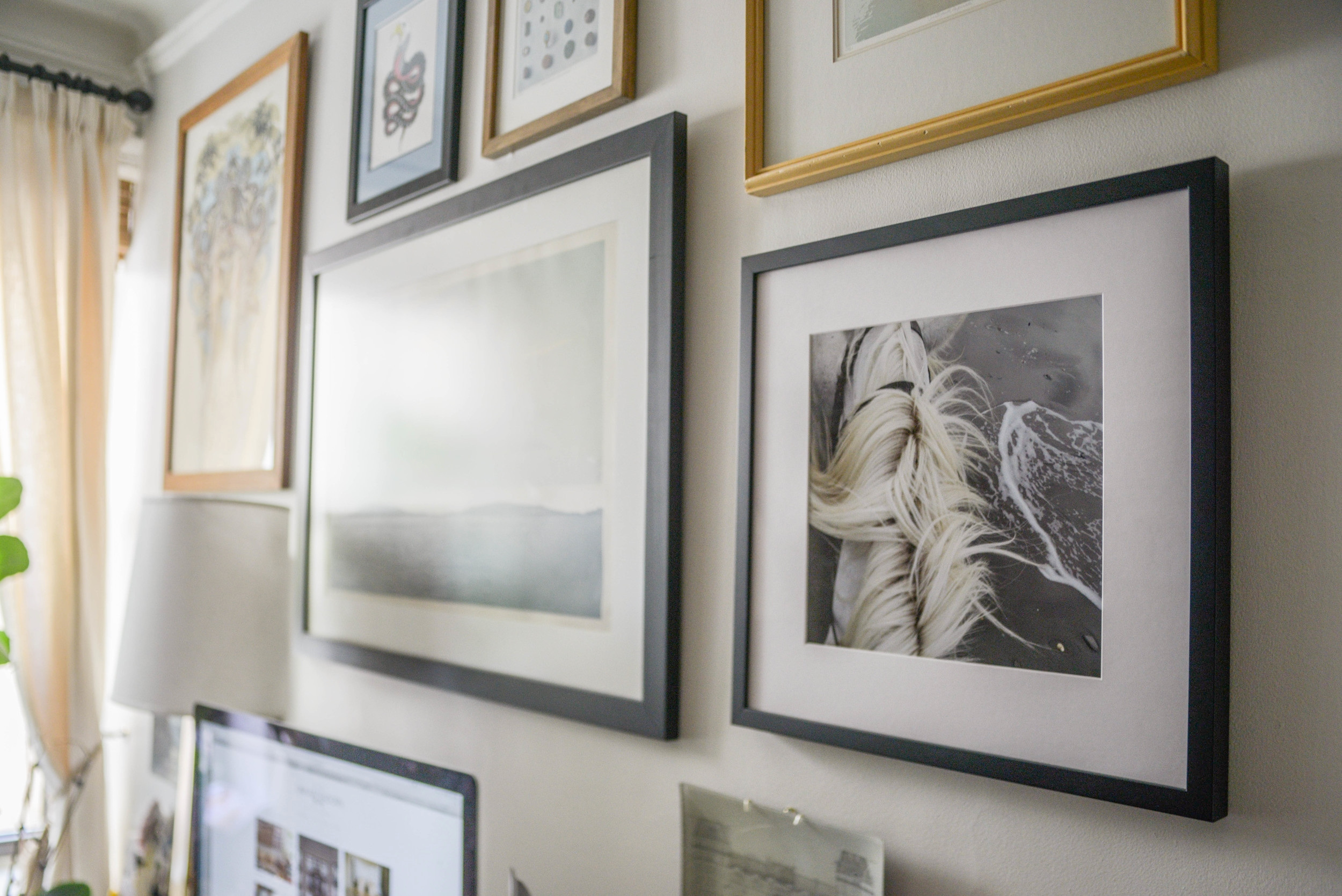 Gallery wall with new print, framed and printed by Framebridge.