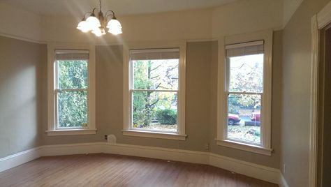 The living room - look at those moldings!