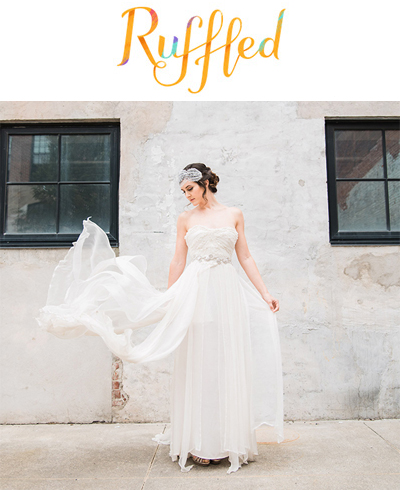 Ruffled Blog, August 29, 2016  Industrial Meets Earthy Wedding Inspiration  Featuring the Bailey hairpiece, Layla sash, Muse garter, and custom hair twig