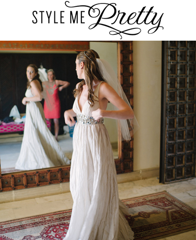 """Style Me Pretty, April 24, 2014, """"Casual Costa Rica Wedding""""  REAL BRIDE  Wearing a custom halo made with a vintage rhinestone necklace and a simple veil cut to bride's custom length"""