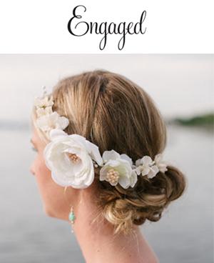 Engaged Blog, January 21, 2016  Maya & DJ  Wearing a custom floral crown by Andria Bird