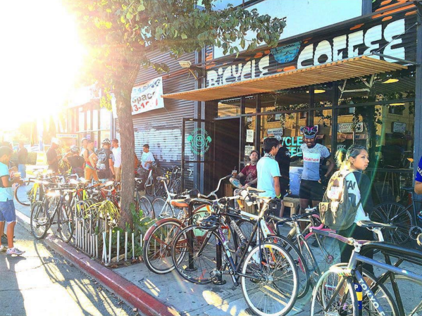 Bikers—and bikes—of every creed coming together for bike-powered coffee