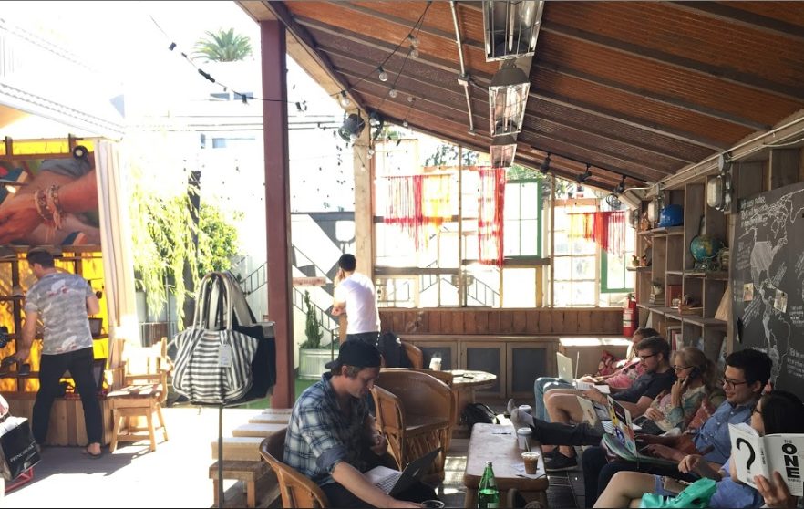 Coffee shop meets shoe store meets open-air hangout at the Toms flagship store. (Photo credit: David Frosdick)