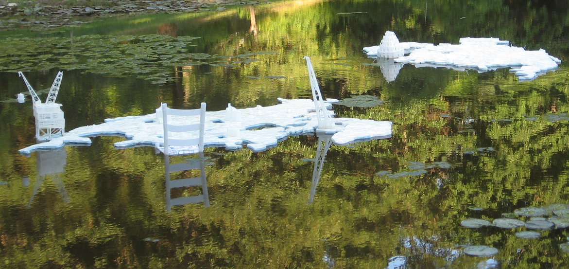 """""""Distant Mirrors"""" floating down the Providence River"""
