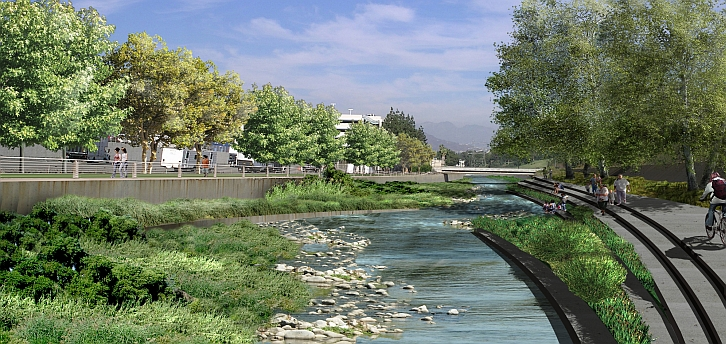 A mock up of the river after revitalization