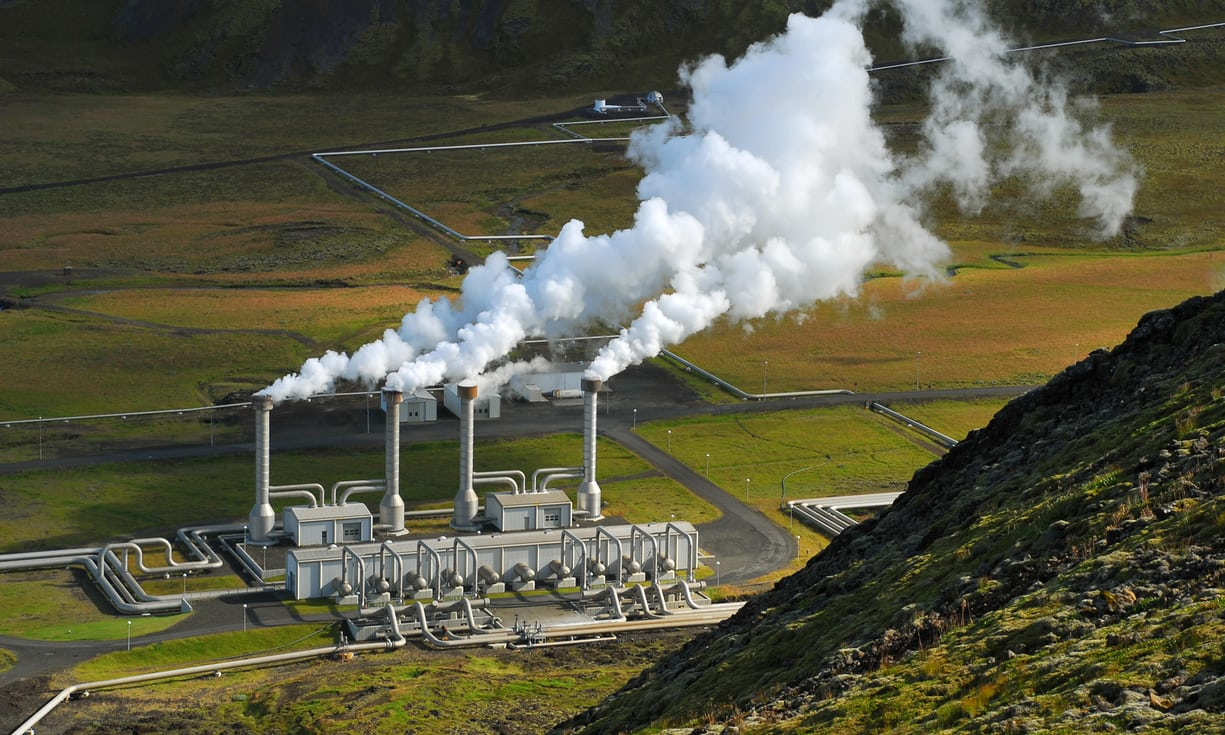 Pictured here is the Nesjavellir geothermal plant in Iceland. The capital, Rejkjavik, gets 100% of its electricity from renewable sources.  (Photograph: Alamy)