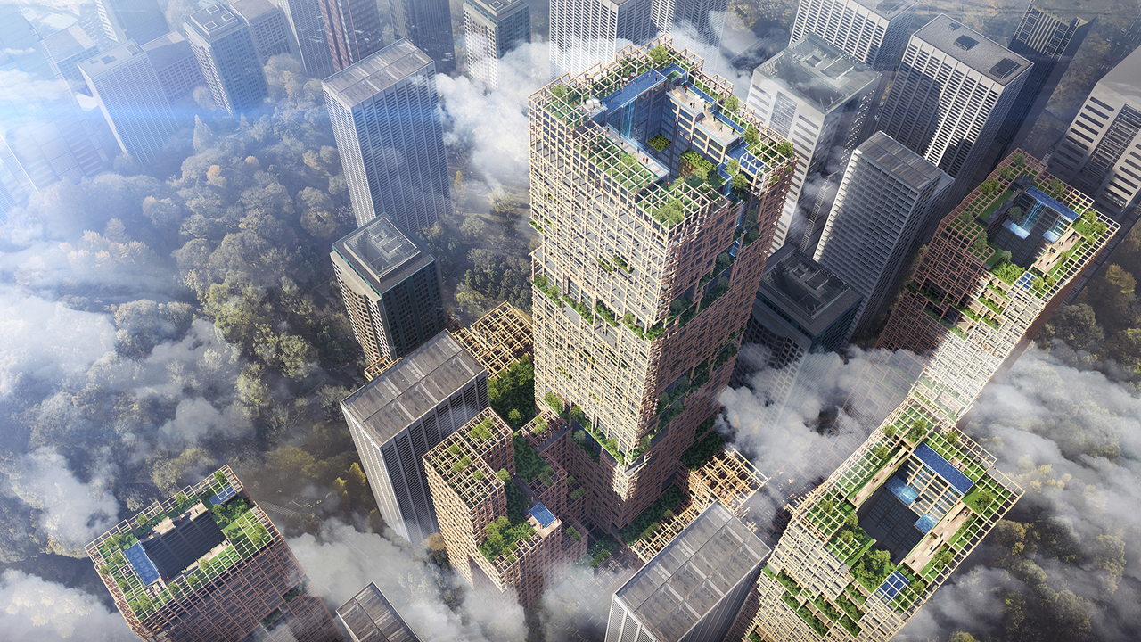 """Aimed to """"transform Tokyo into a forest,"""" the structure will feature a garden roof, balconies covered with greenery, and large open spaces filled with natural light.  (Sumitomo Forestry Co.)"""