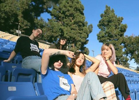 """Girl Friday - Girl Friday is a genre-confused band made up of Virginia Pettis, Natalie Morace, Sierra Scott, Vera Ellen, and Libby Hsieh. They are heavily influenced by the Scum Manifesto, socialist propaganda, pro-womxn rallies, The Breeders, witchcraft, mall goths, and surf rock of the '70s. If you look into a dirty mirror and say """"bitch rising"""" 3 times fast, they might just appear alongside you... but they will not leave, and you will be haunted."""