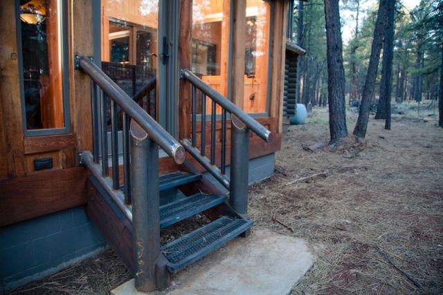 Custom welded raw steel handrails