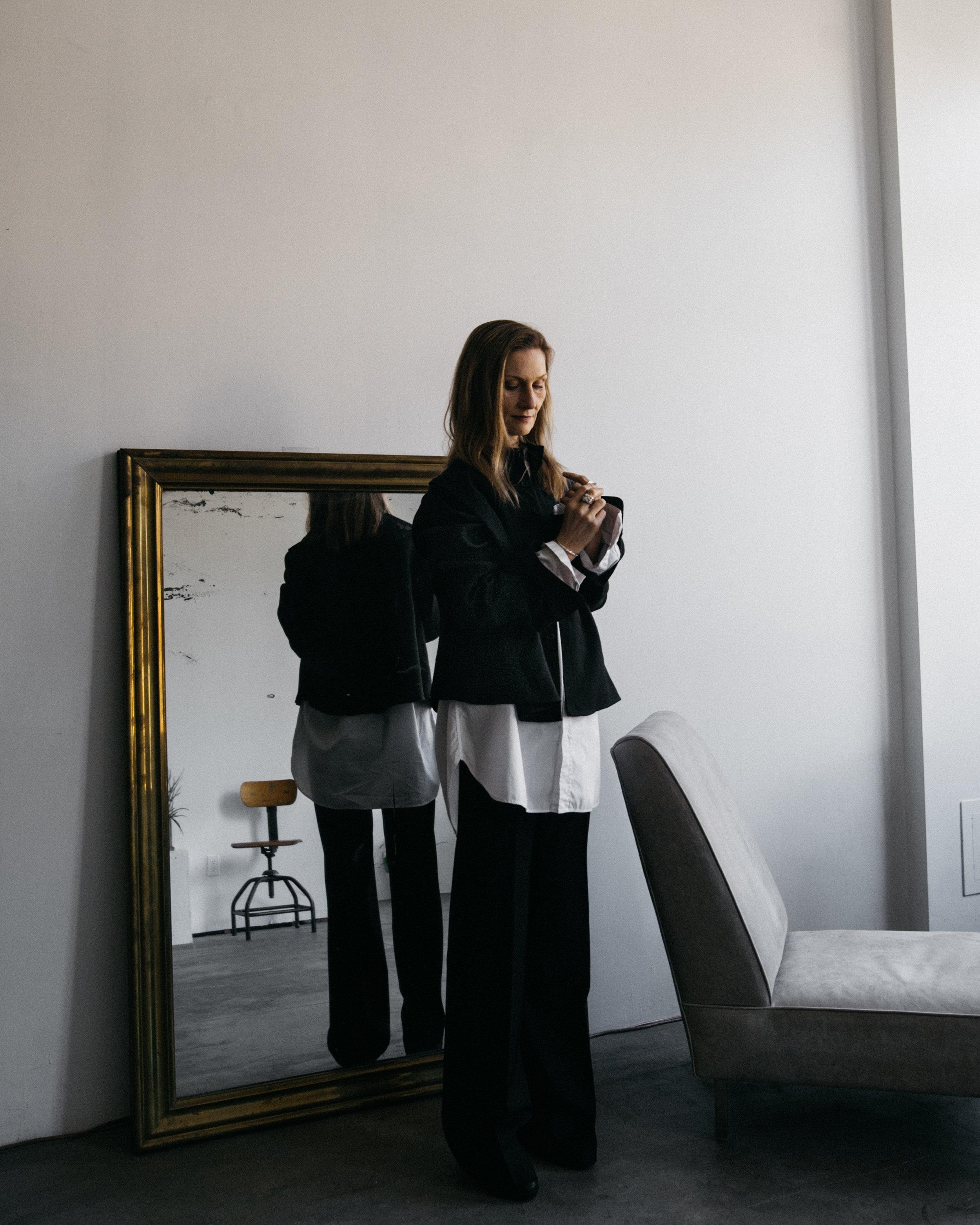 Black shirt - Dsecond  White shirt - Yohji Yamamoto  Pants - Filippa K  Shoes -Maison Martin Margiela  Jewelries - Kei Shigenaga