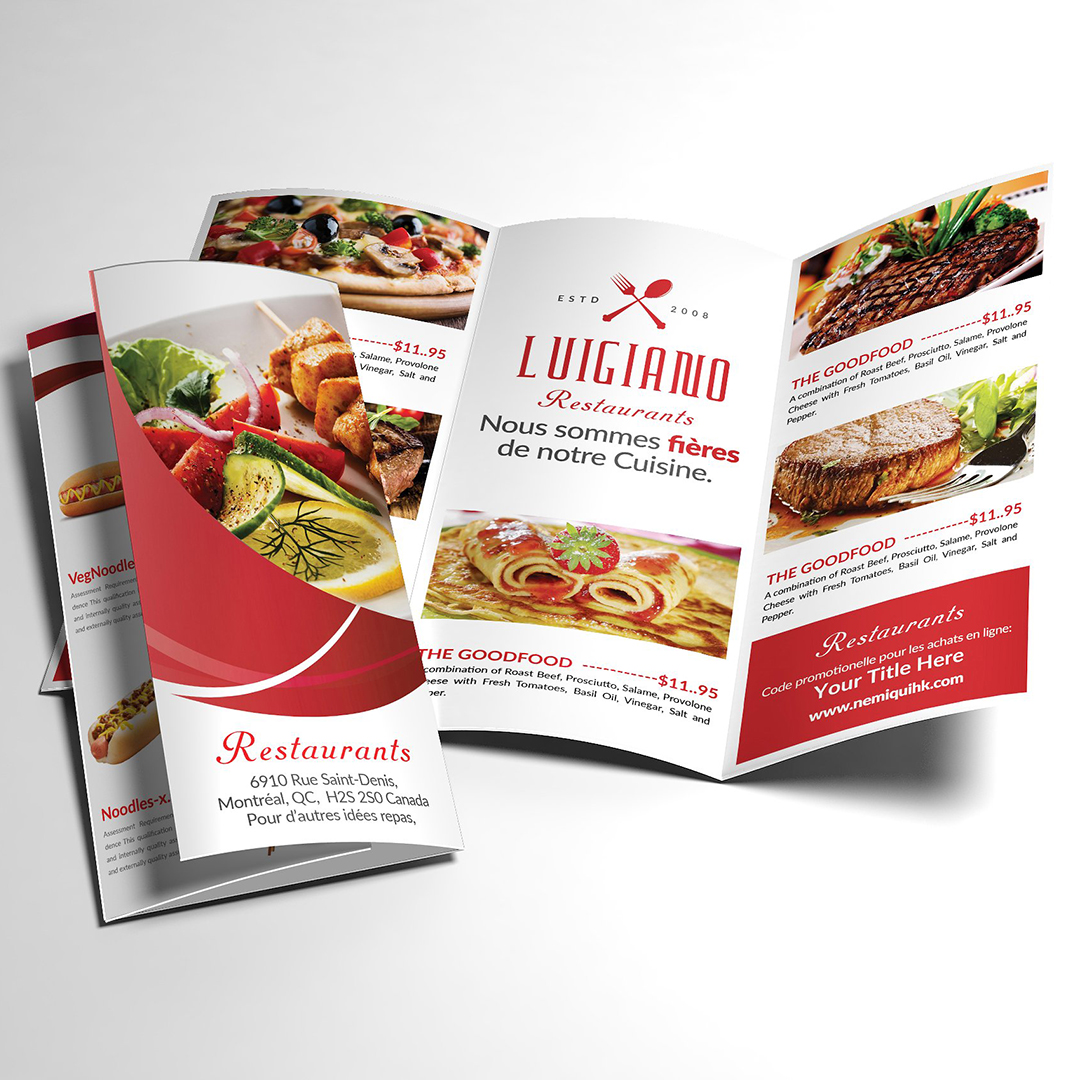 Brochure/Menu   High-quality, full-color  offset  and  digital  printing available on multiple premium paper stocks and in various sizes. Choose from a variety of folding options.