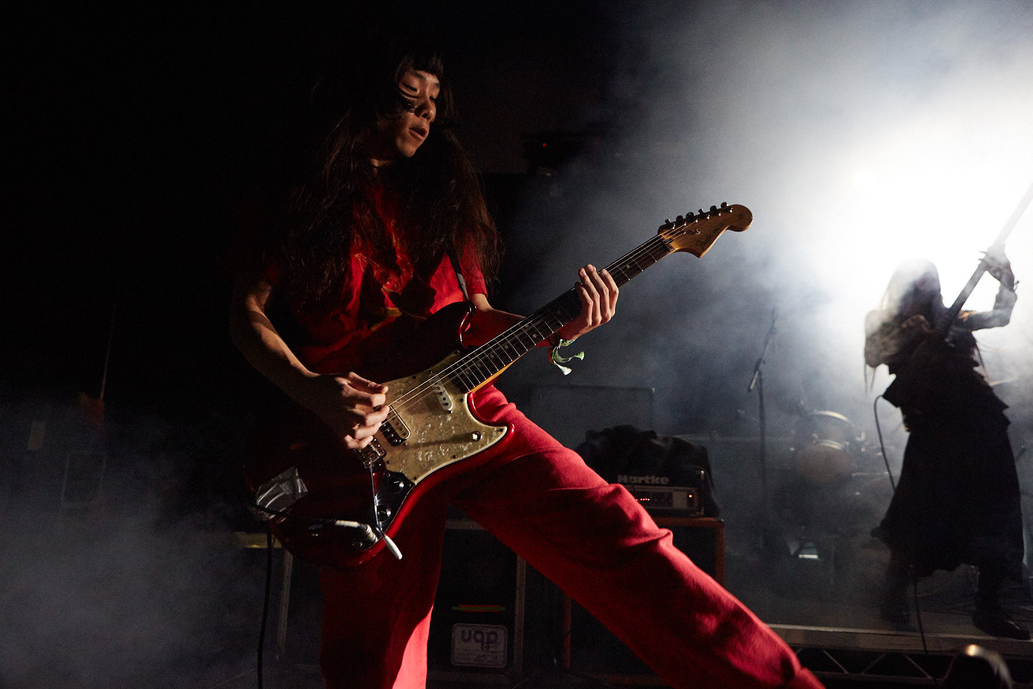 Bo Ningen performing on the Mavericks stage on the second day of Boardmasters music festival, Watergate Bay, Cornwall 2015