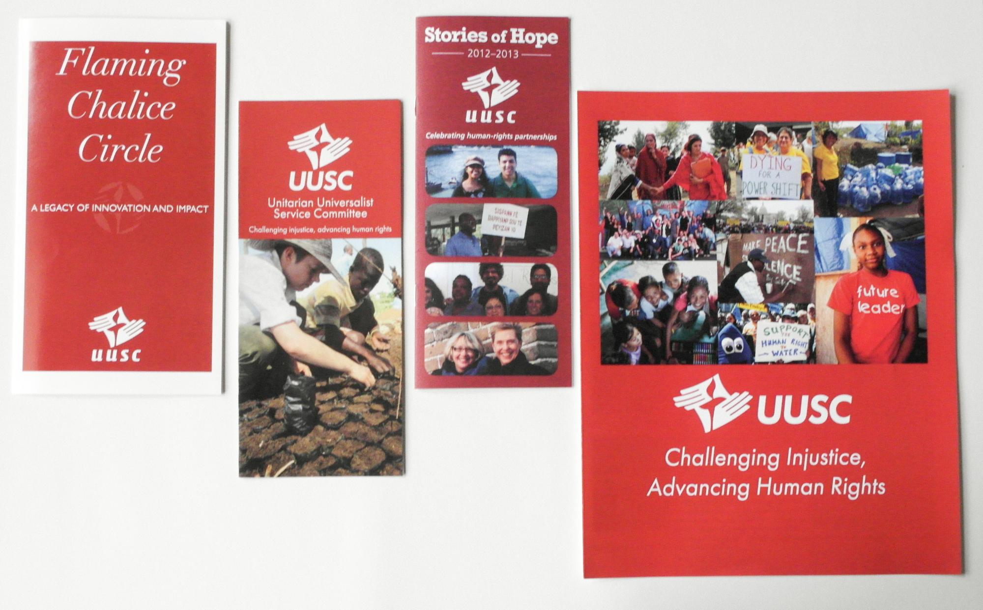 UUSC advocacy and advancement collateral print design 2011-2016